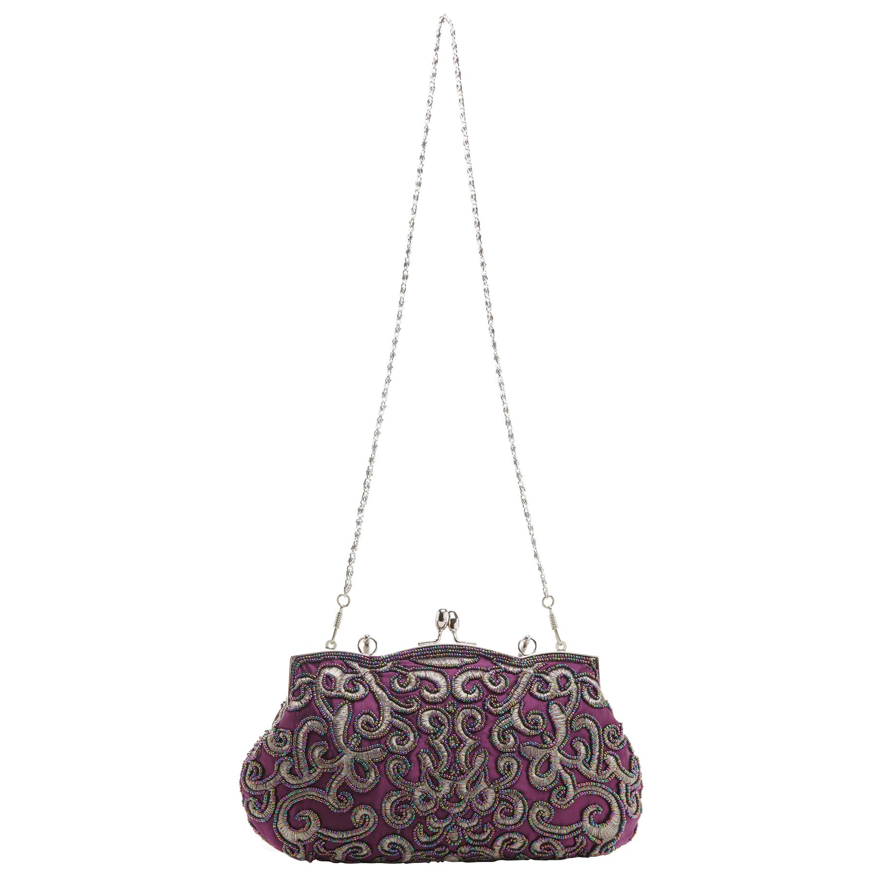 ADELE Purple Embroidered Evening Bag strap