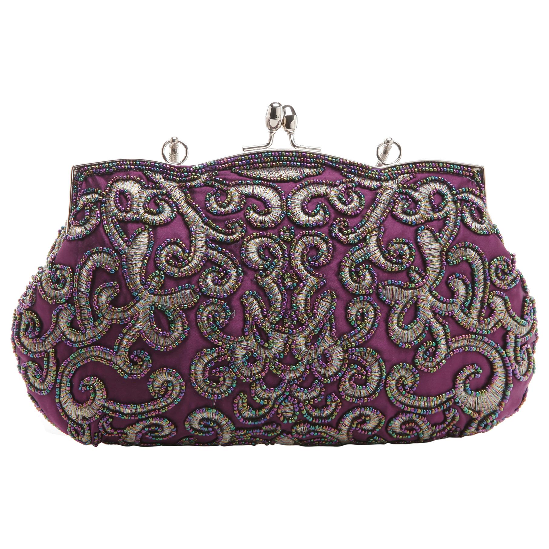 ADELE Purple Embroidered Evening Bag back