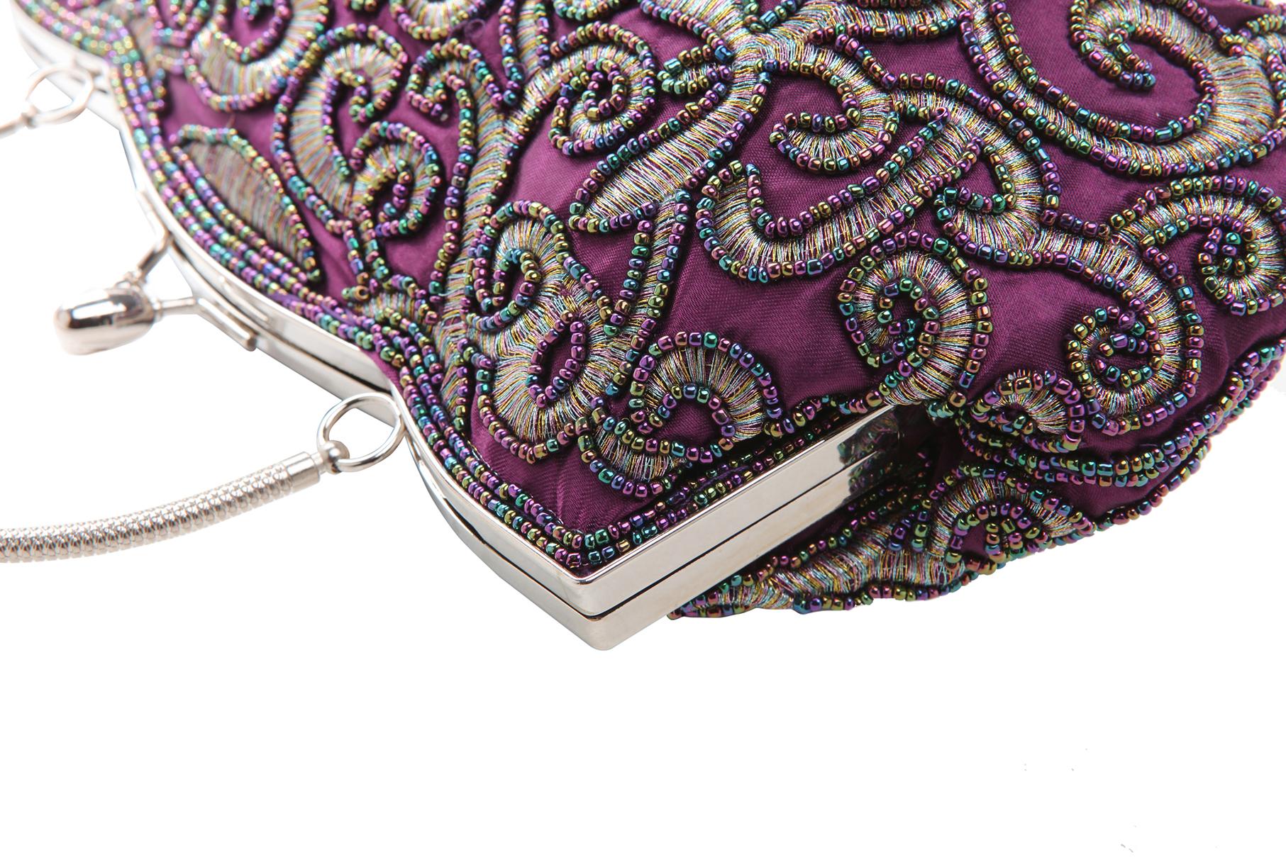 ADELE Purple Embroidered Evening Bag closeup