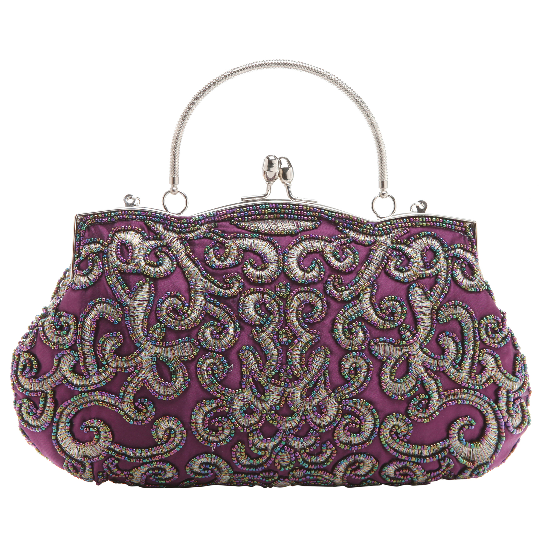 ADELE Purple Embroidered Evening Bag front