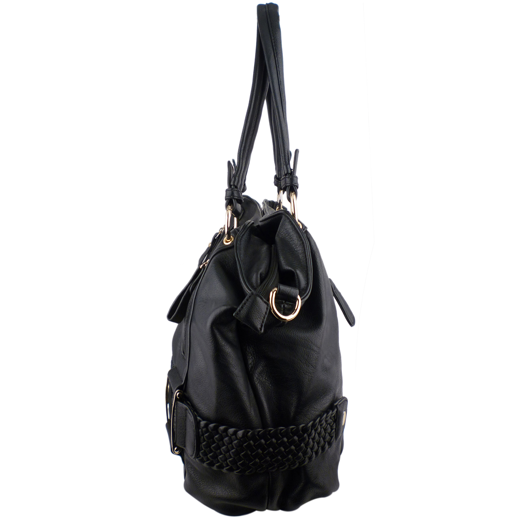MG Collection Hobo's - SAMANTHA Black Weave Pattern Soft Hobo Handbag Side