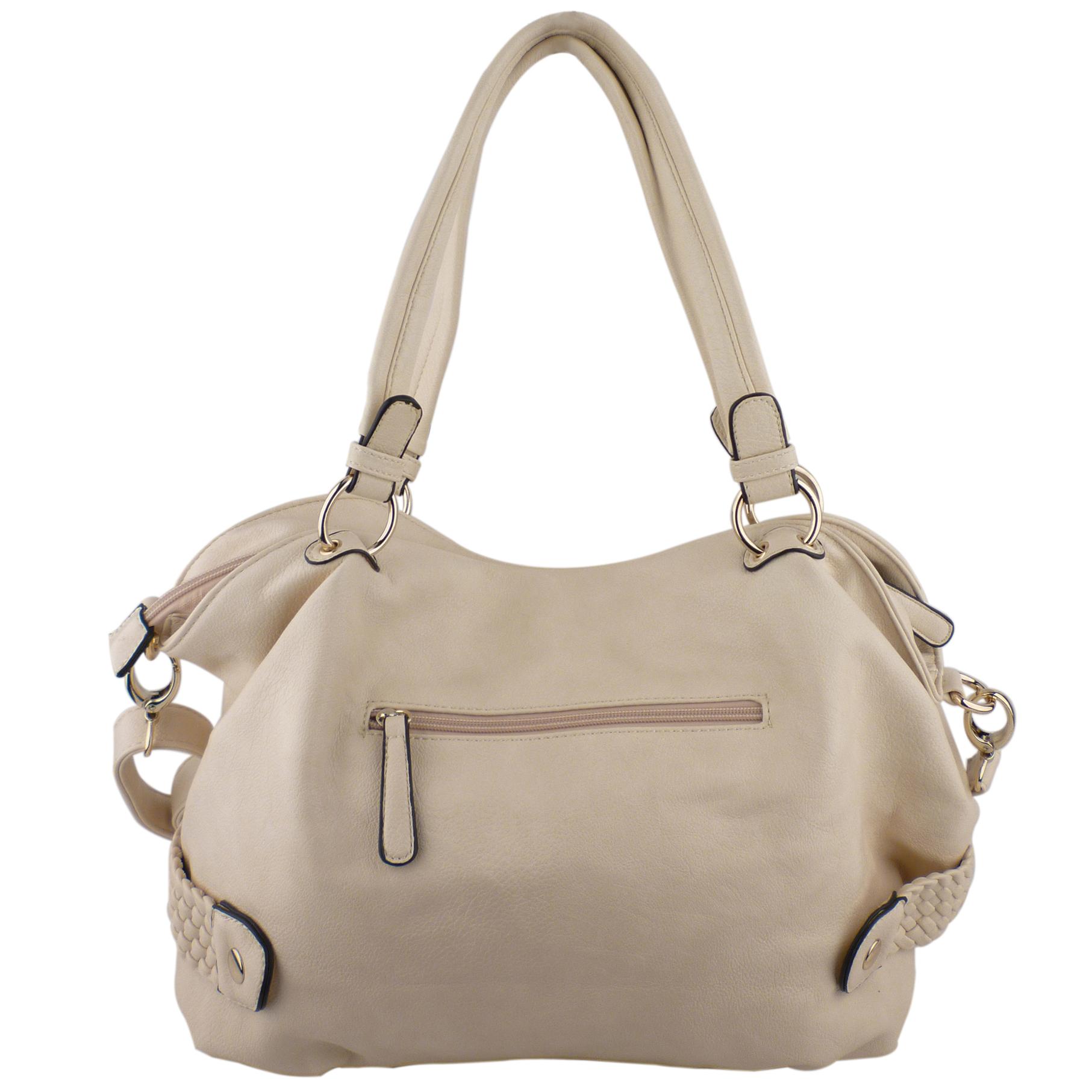 SAMANTHA Cream Weave Pattern Soft Hobo Handbag Back