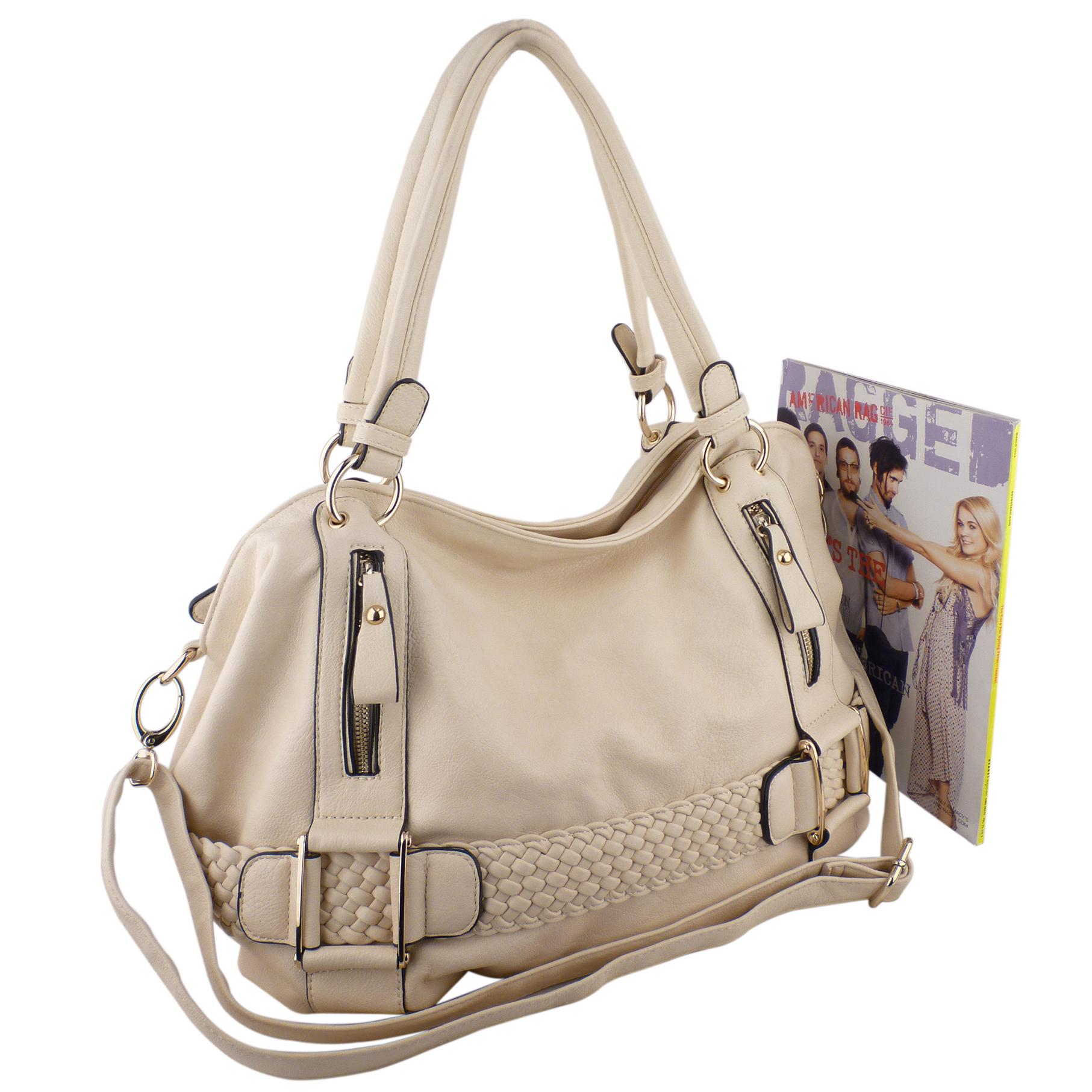 SAMANTHA Cream Weave Pattern Soft Hobo Handbag Size