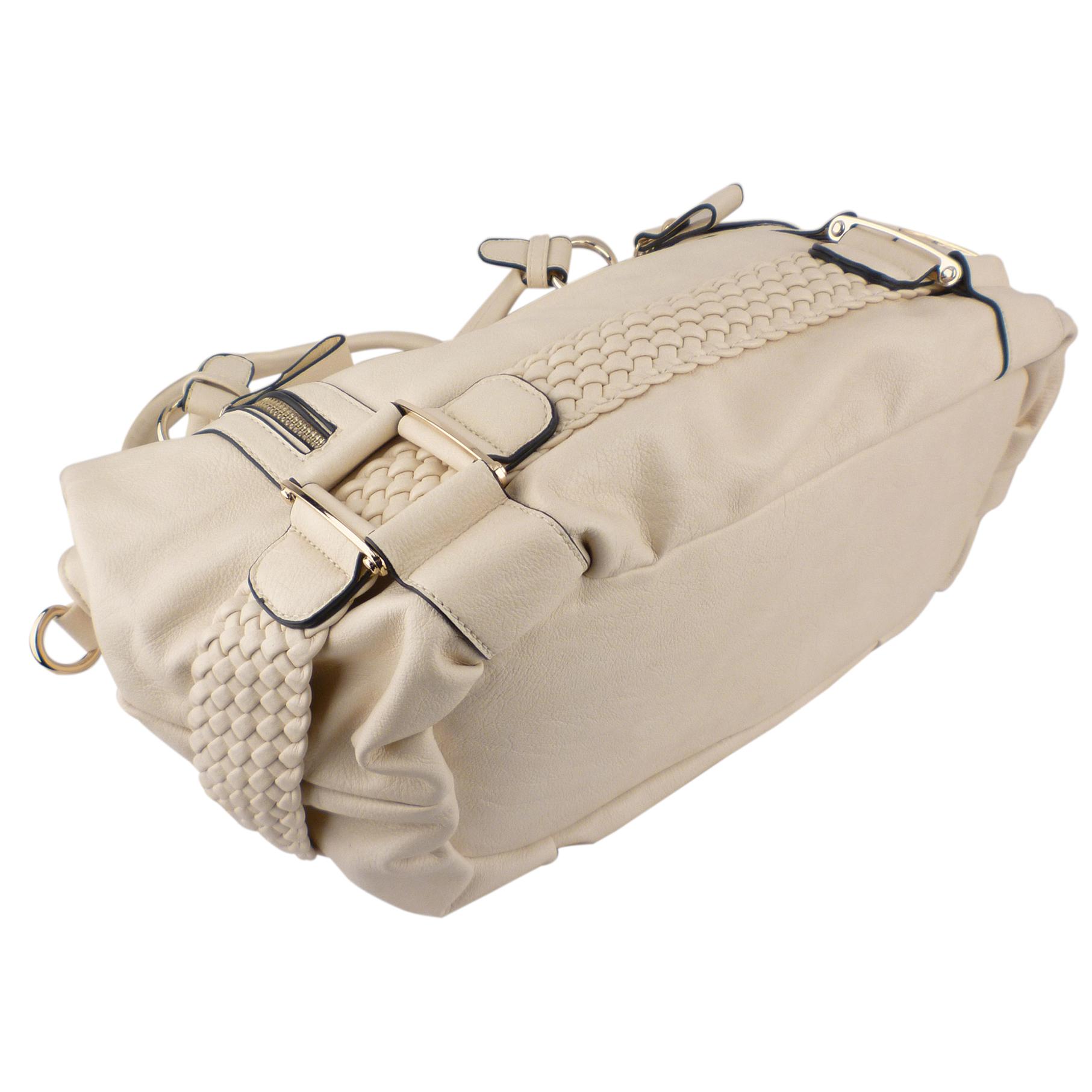SAMANTHA Cream Weave Pattern Soft Hobo Handbag Bottom