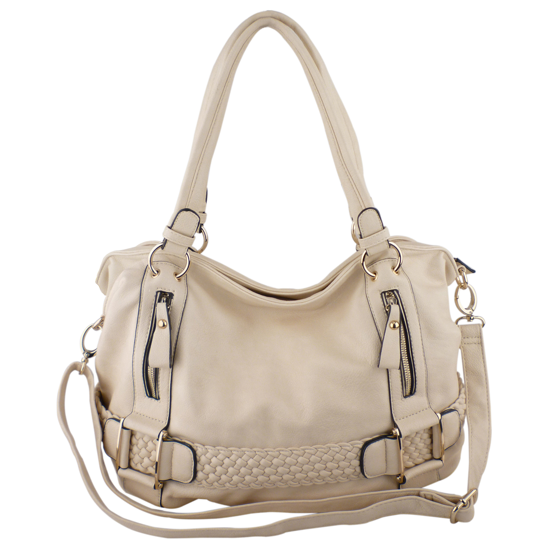 SAMANTHA Cream Weave Pattern Soft Hobo Handbag Front