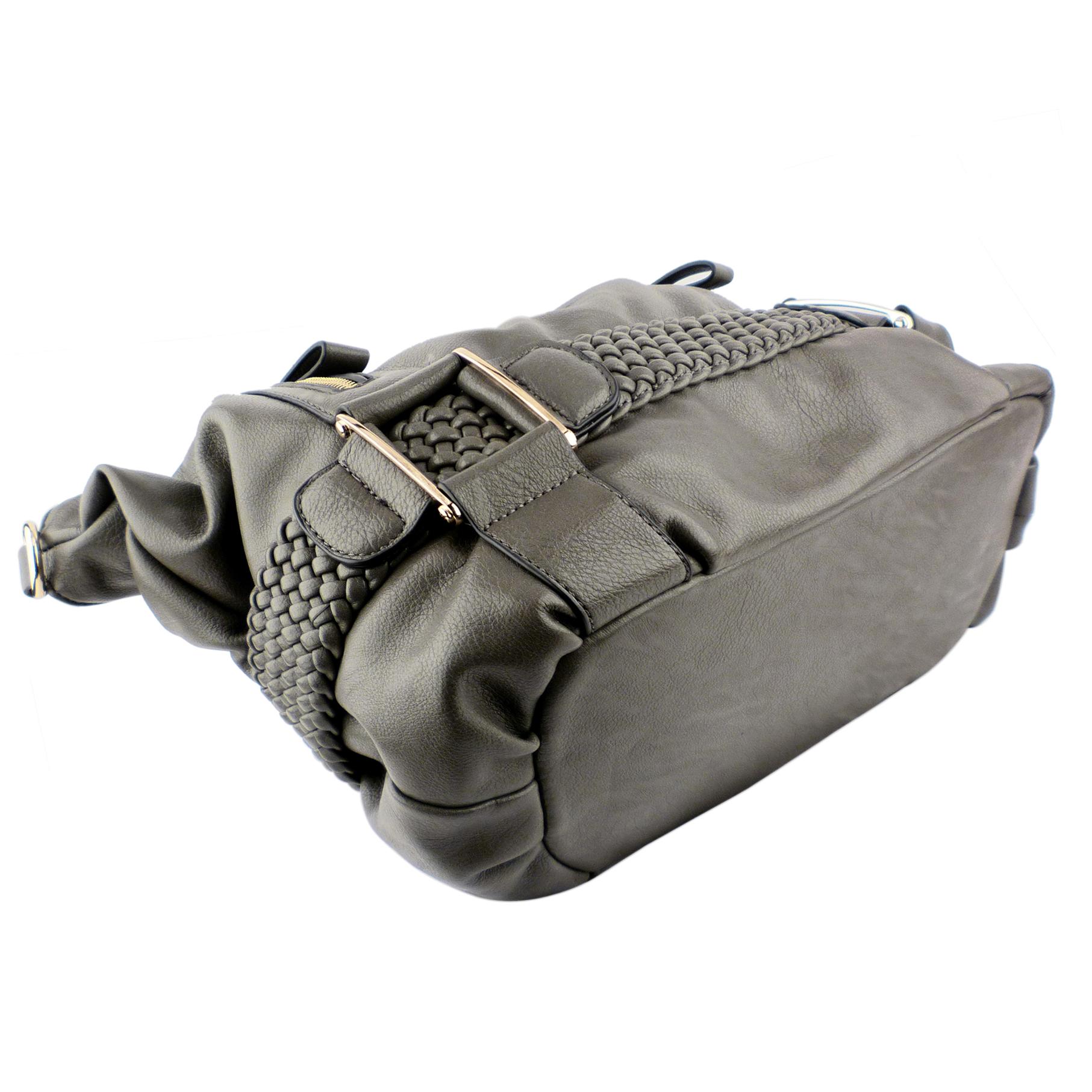 SAMANTHA Dark Grey Weave Pattern Soft Hobo Handbag bottom