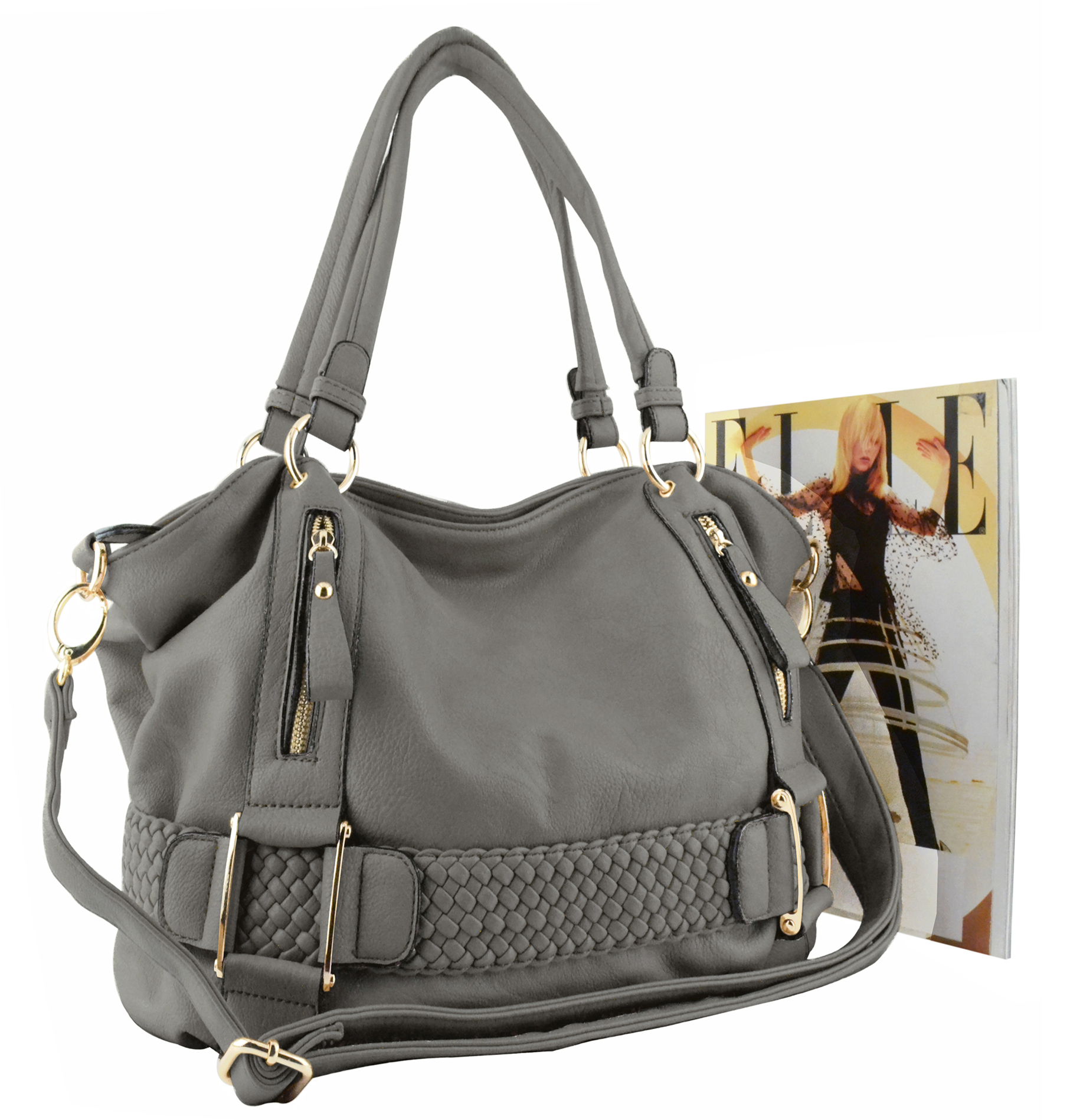SAMANTHA Dark Grey Weave Pattern Soft Hobo Handbag Size