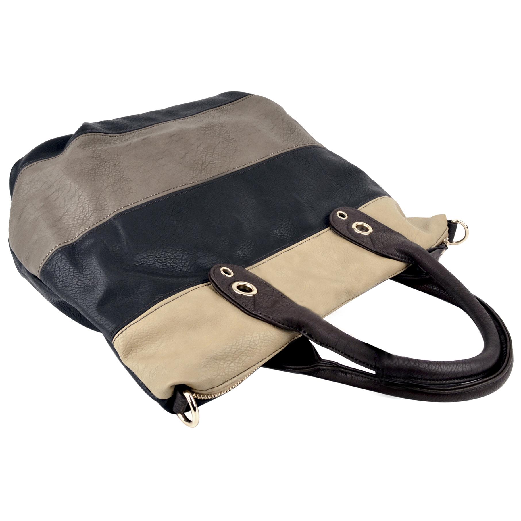 MAYA Black Large Shopper Hobo Handbag Handle
