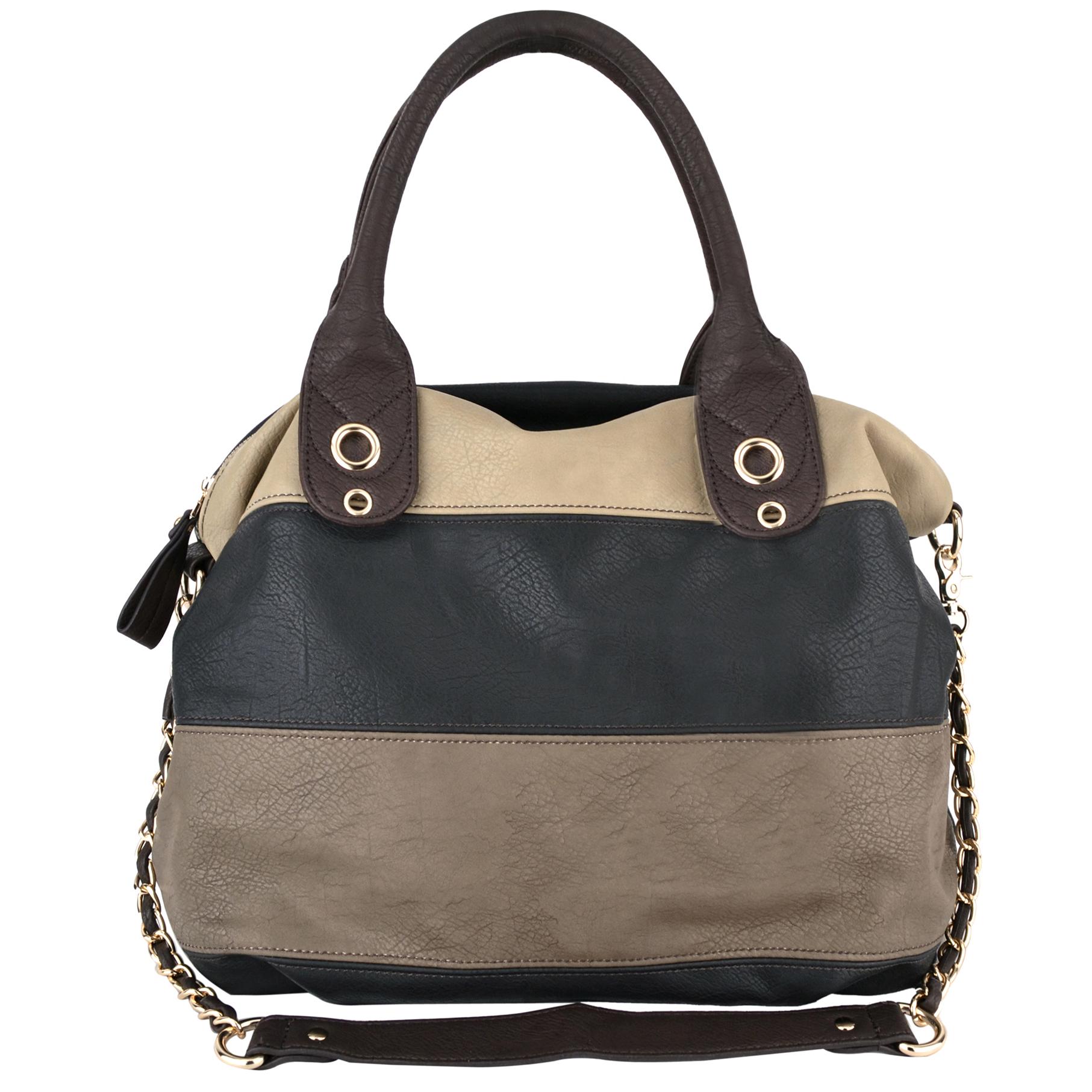 MAYA Black Large Shopper Hobo Handbag Front