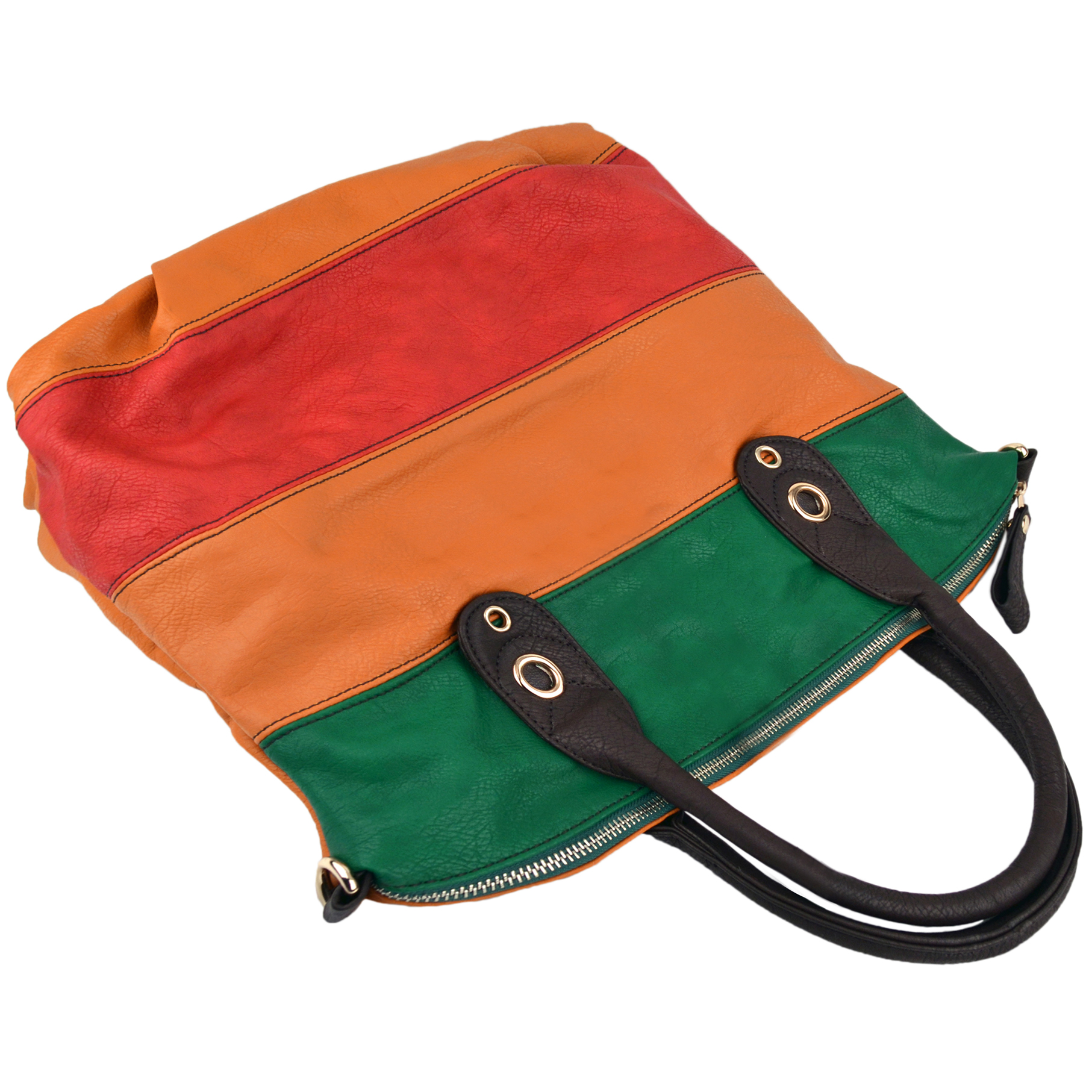 MAYA Orange Large Shopper Hobo Handbag Handle