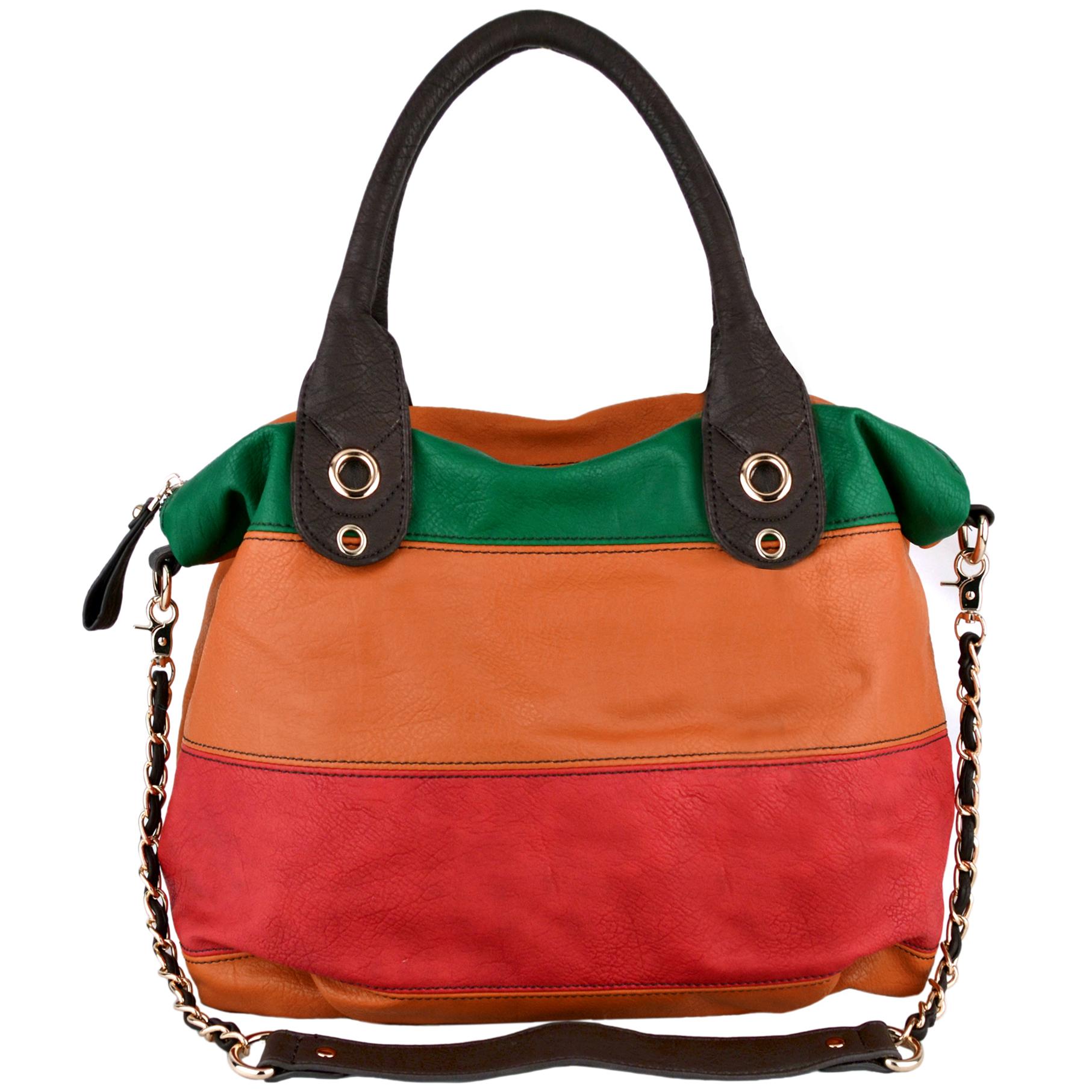 MAYA Orange Large Shopper Hobo Handbag Front