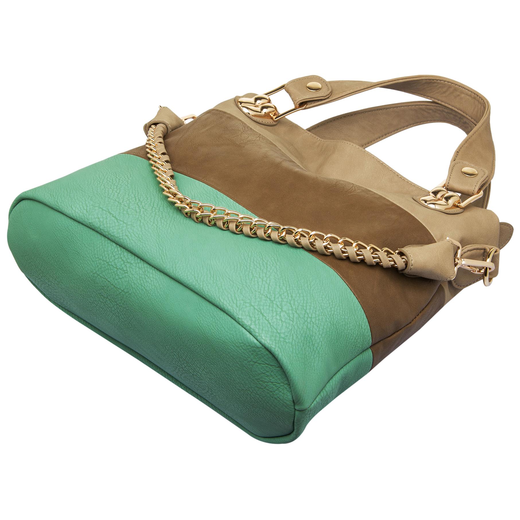 ECE Turquoise Tri-tone Hobo Handbag Bottom