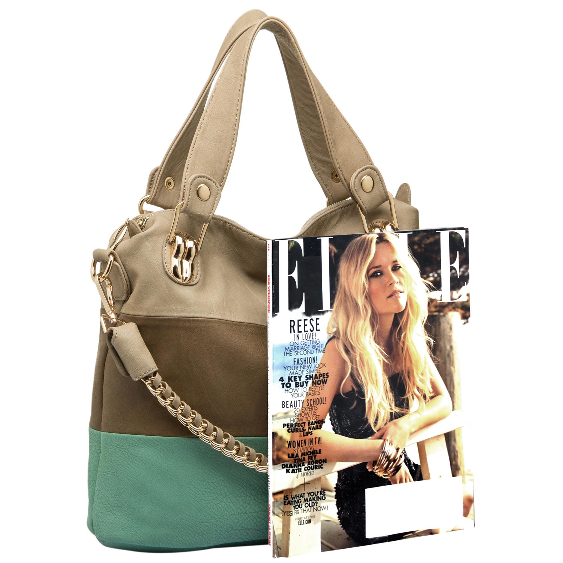 ECE Turquoise Tri-tone Hobo Handbag Size