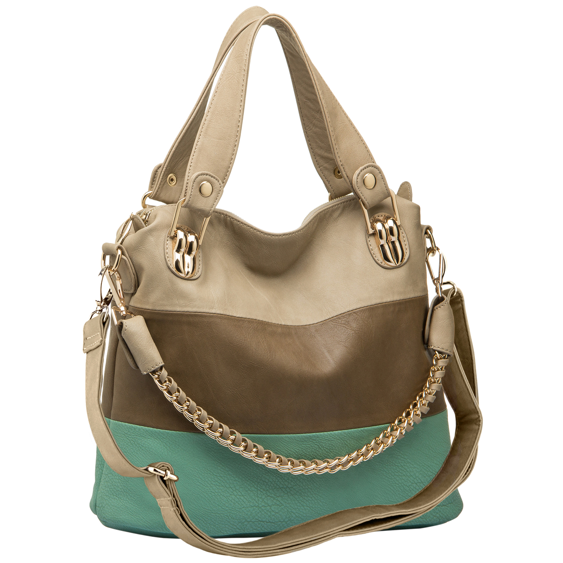 ECE Turquoise Tri-tone Hobo Handbag Main