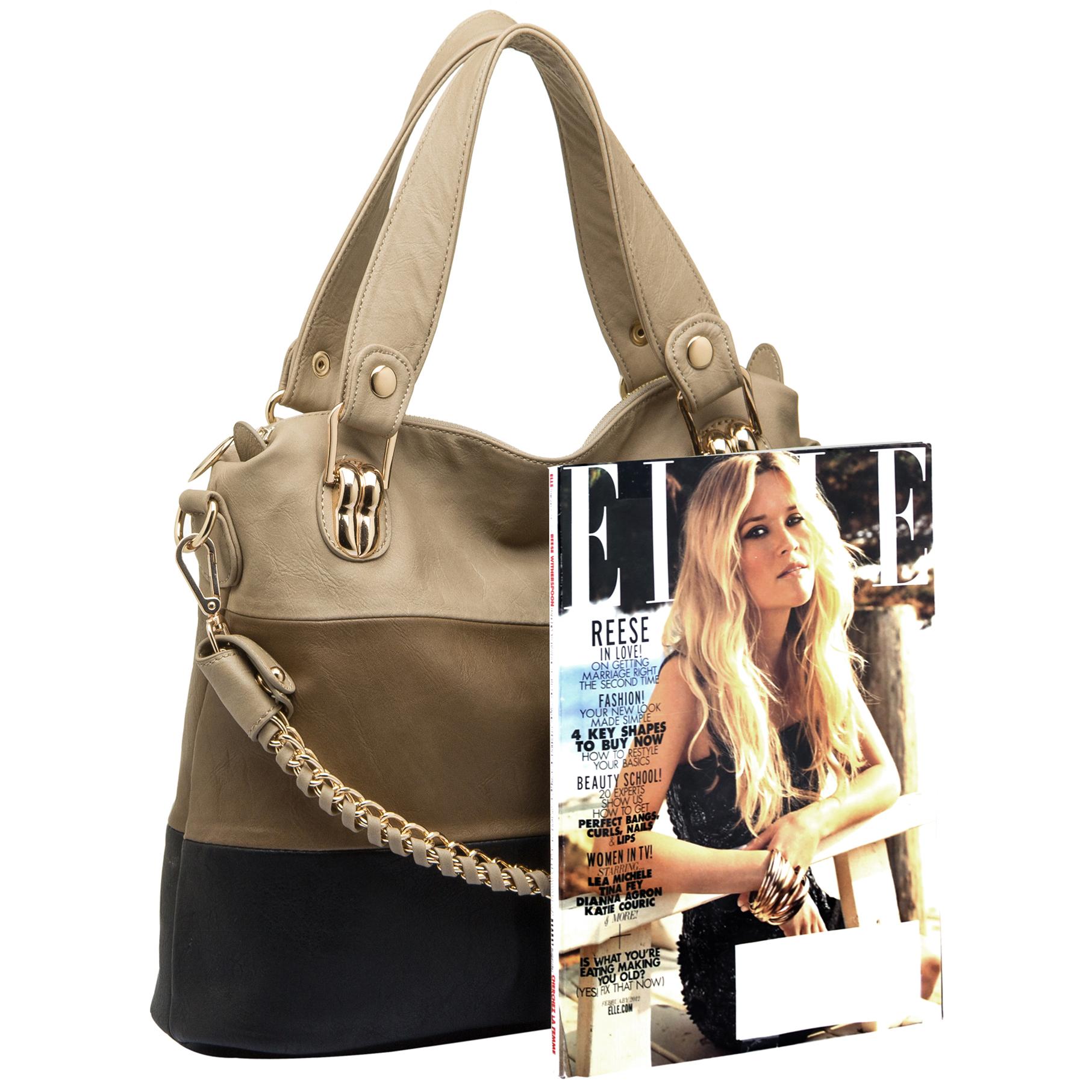 ECE Black Tri-tone Hobo Tote Handbag Size