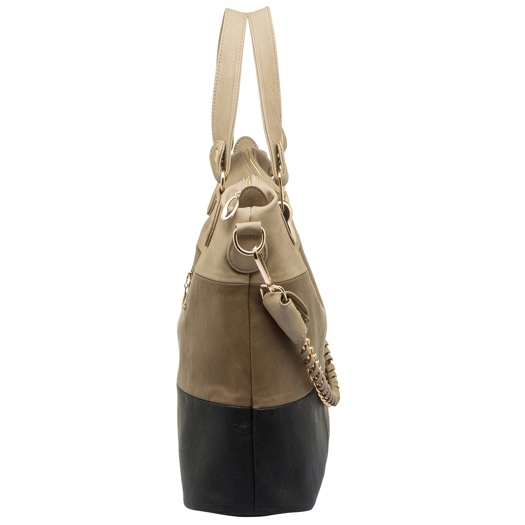 ECE Black Tri-tone Hobo Tote Handbag Side