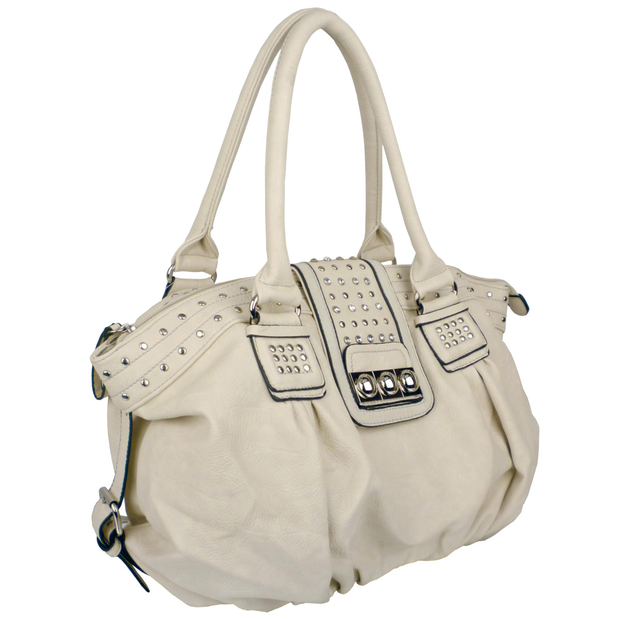 BRENNA Beige Studded Soft Shopper Style Hobo Handbag Angled