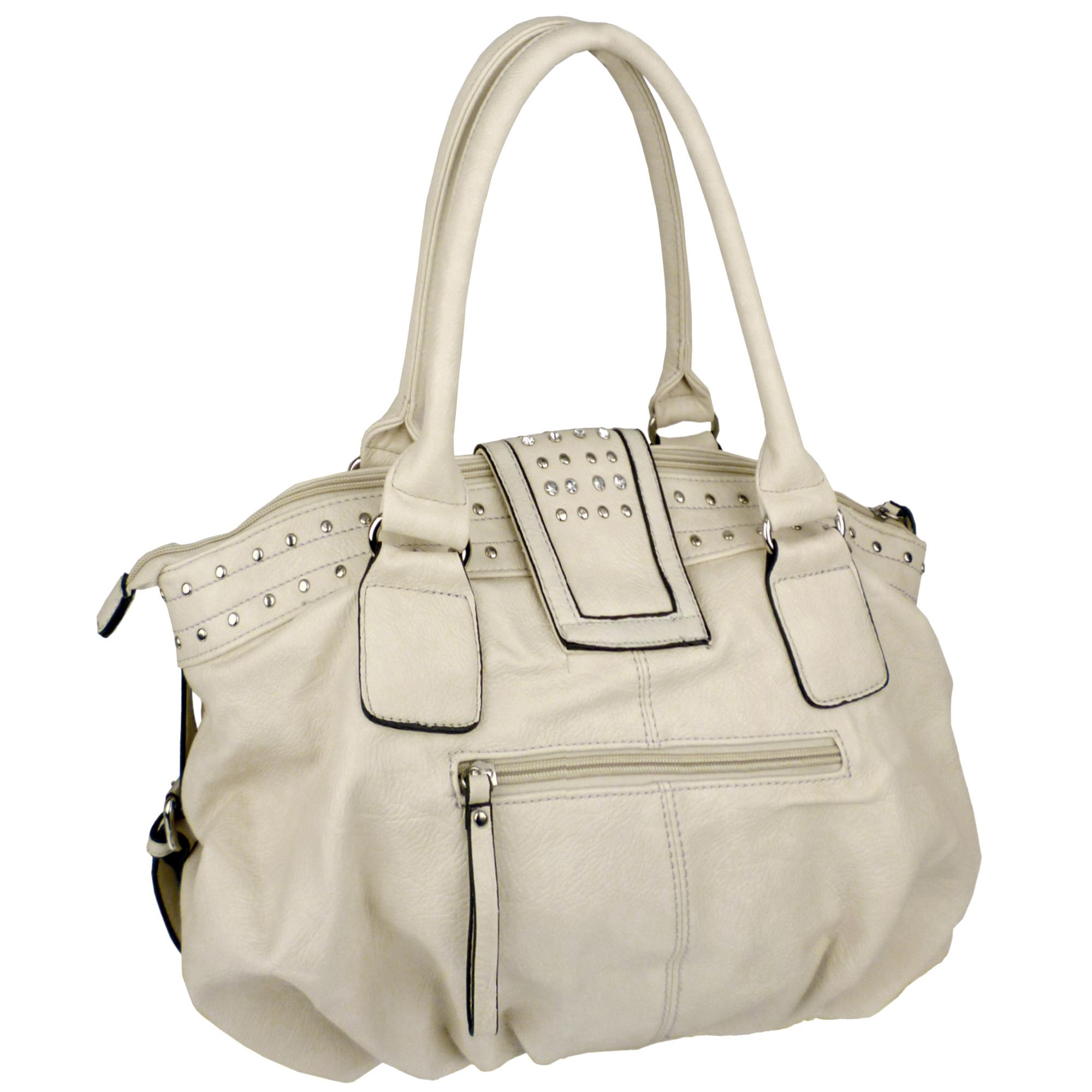 BRENNA Beige Studded Soft Shopper Style Hobo Handbag Angled 2