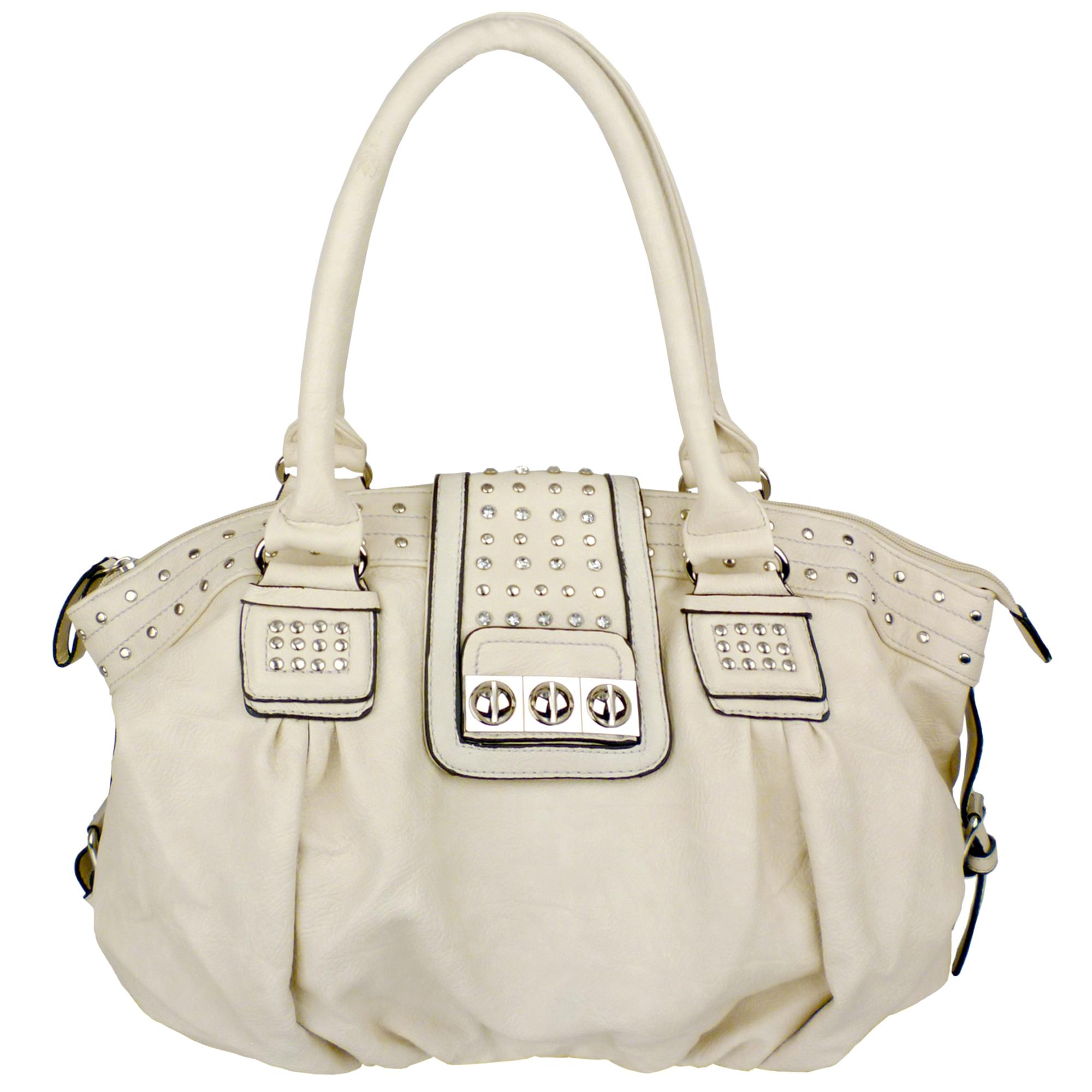 BRENNA Beige Studded Soft Shopper Style Hobo Handbag Main