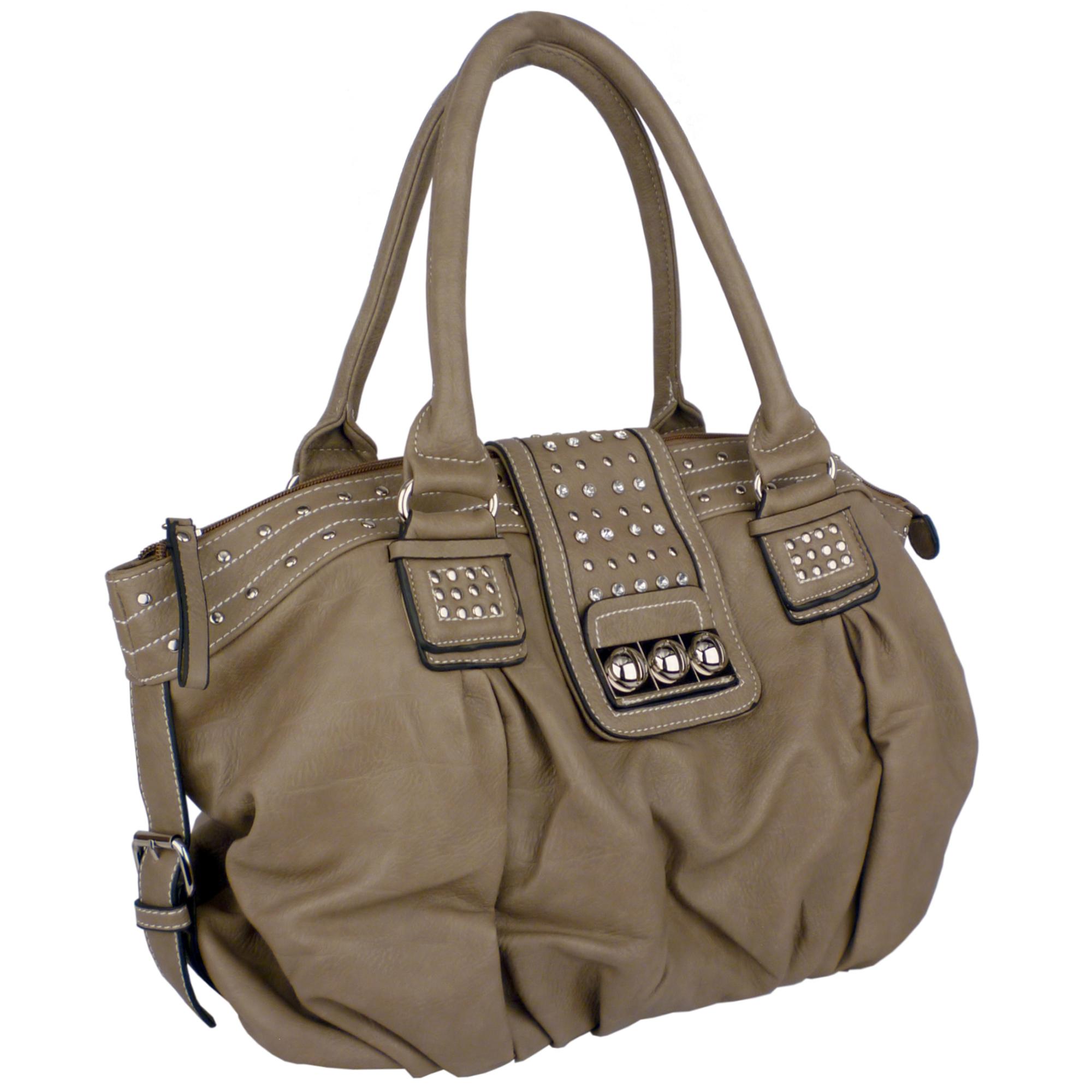 BRENNA Camel Studded Soft Shopper Style Hobo Handbag Angled
