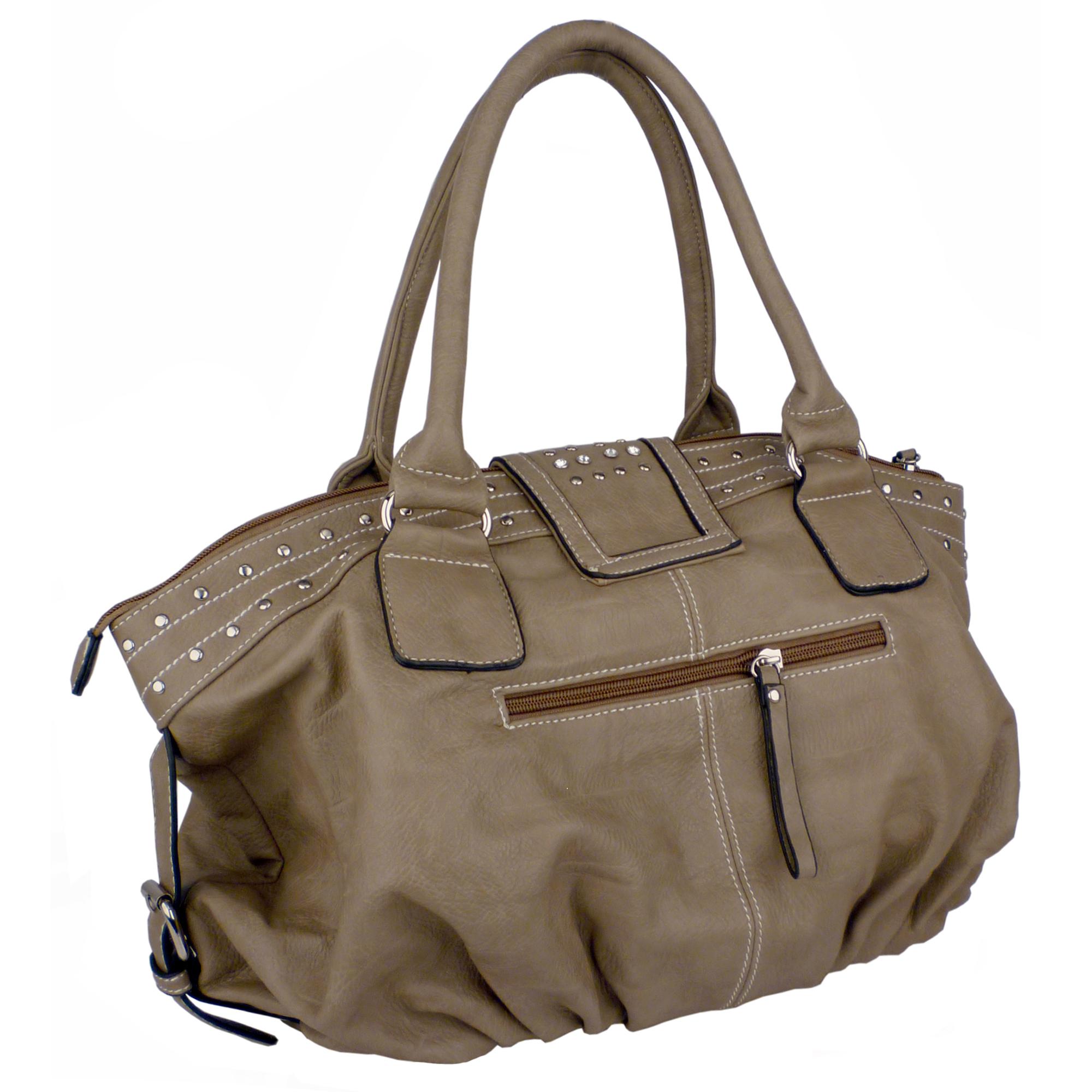 BRENNA Camel Studded Soft Shopper Style Hobo Handbag Angled 2