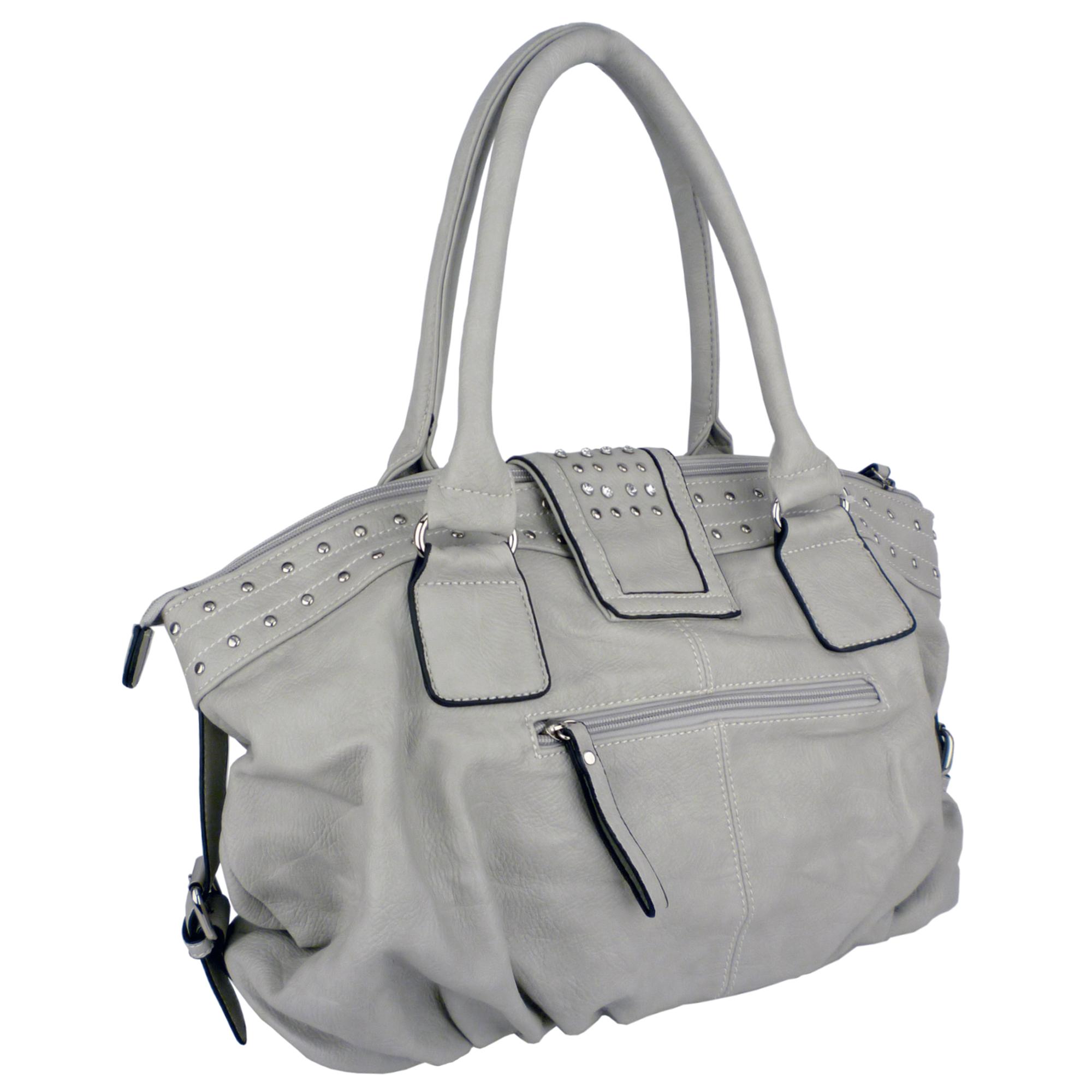 BRENNA Grey Studded Soft Shopper Style Hobo Handbag Angled 2