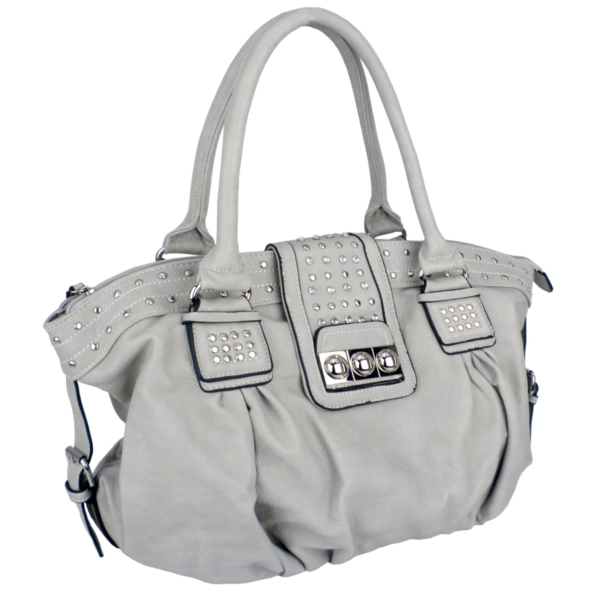 BRENNA Grey Studded Soft Shopper Style Hobo Handbag Angled