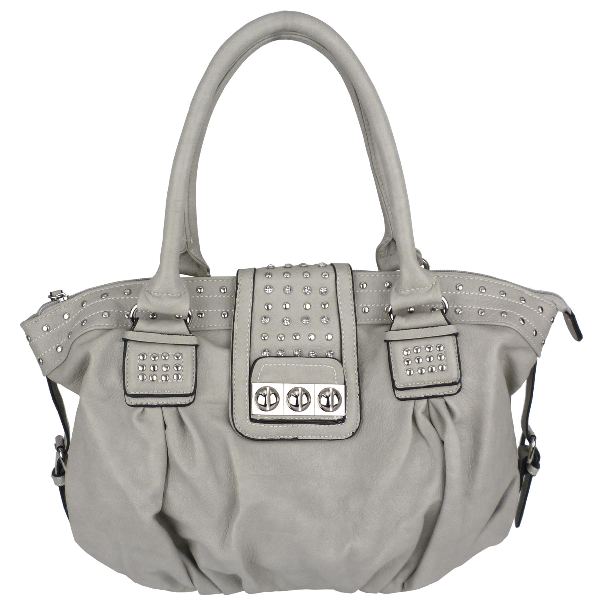 BRENNA Grey Studded Soft Shopper Style Hobo Handbag Main