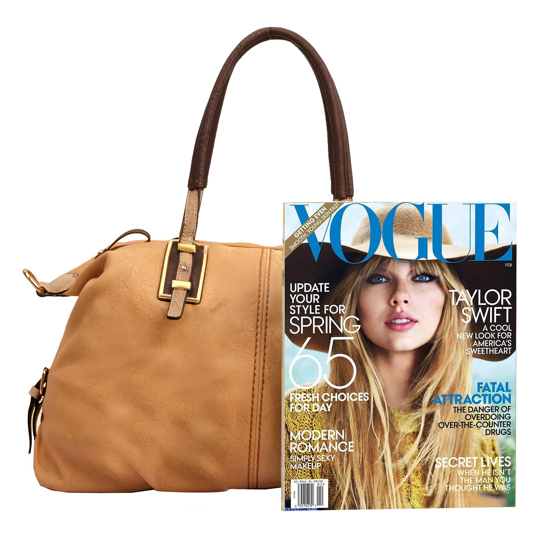 ACACIA Caramel Large Everyday Shopper Hobo Handbag Size