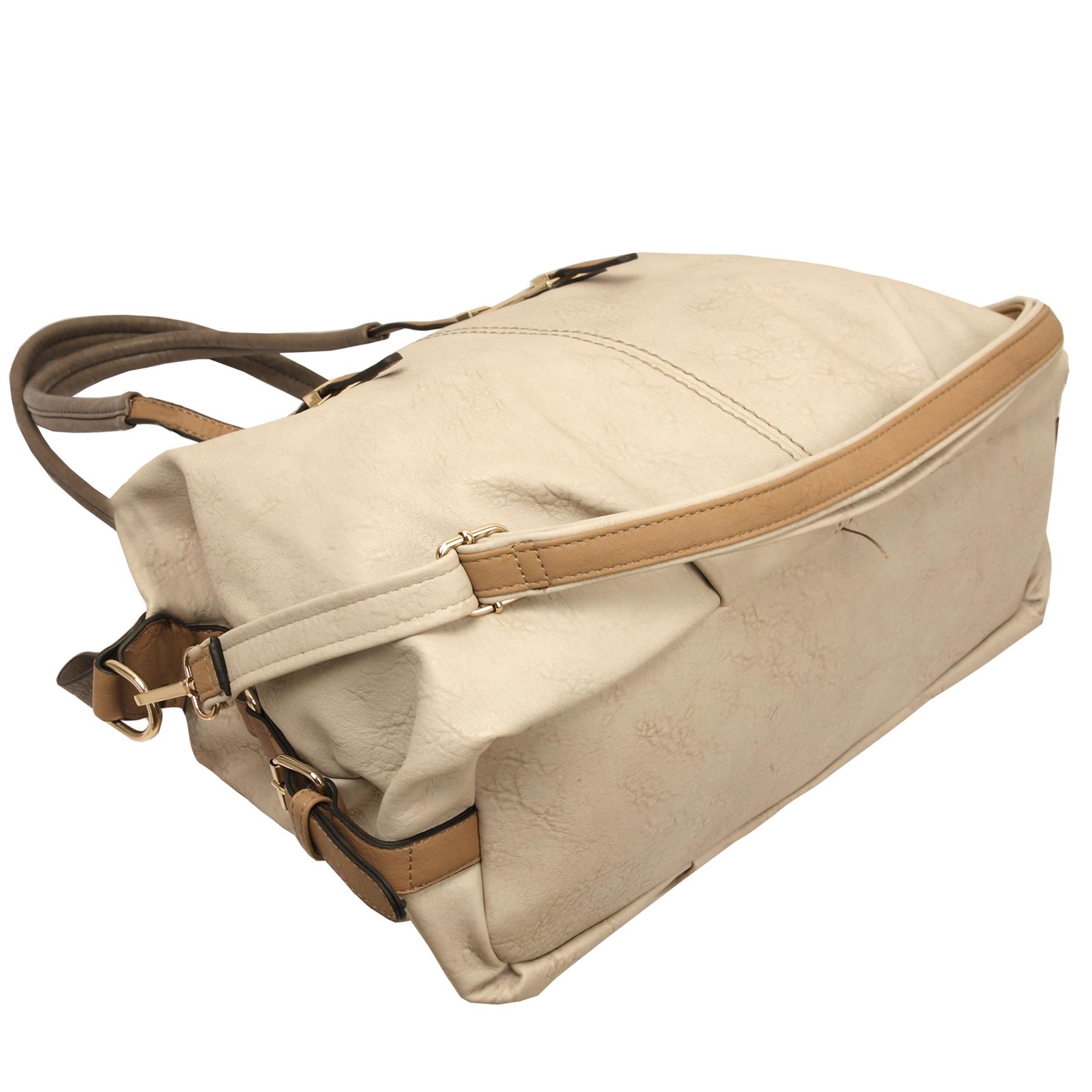ACACIA Grey Large Everyday Shopper Hobo Handbag Bottom
