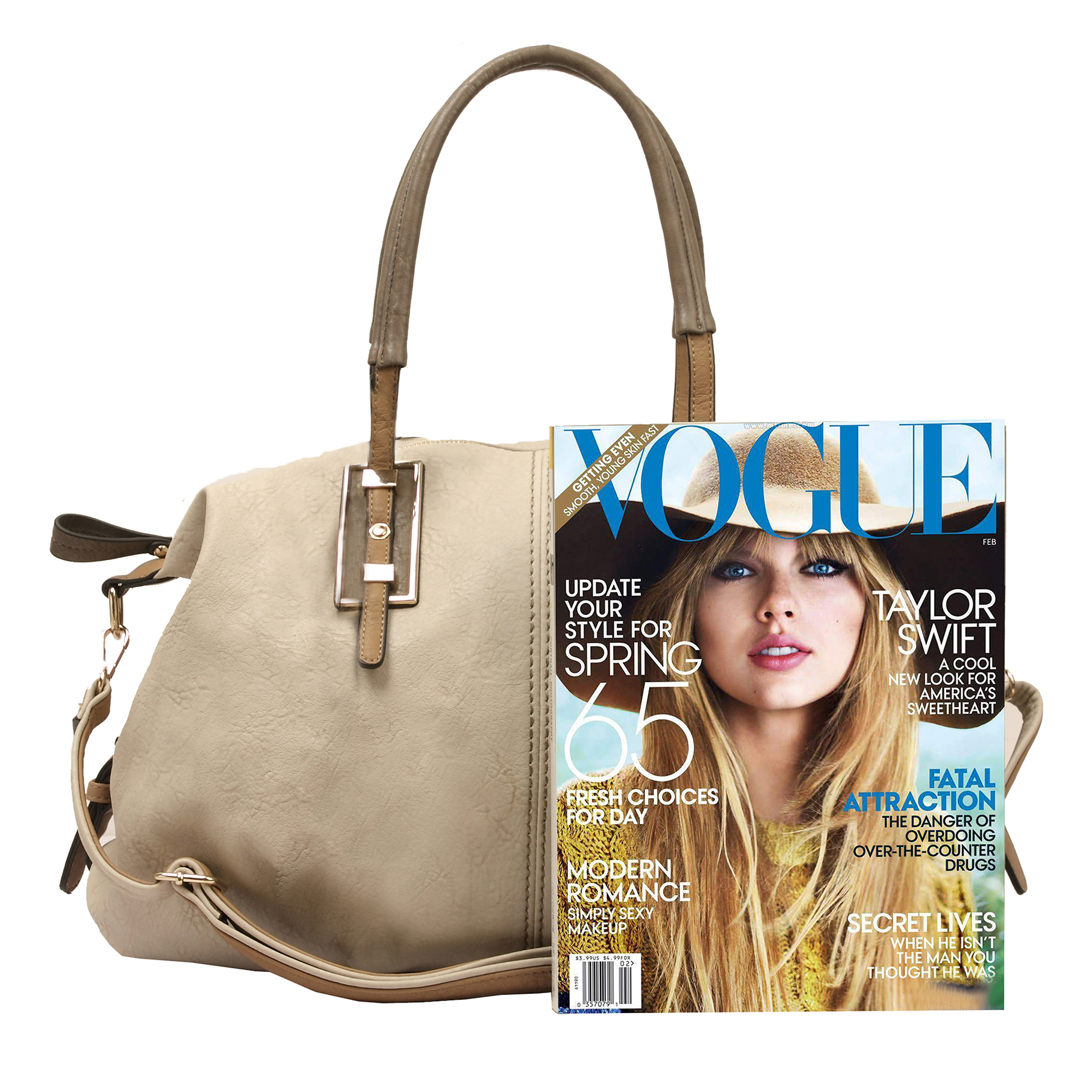 ACACIA Grey Large Everyday Shopper Hobo Handbag Size
