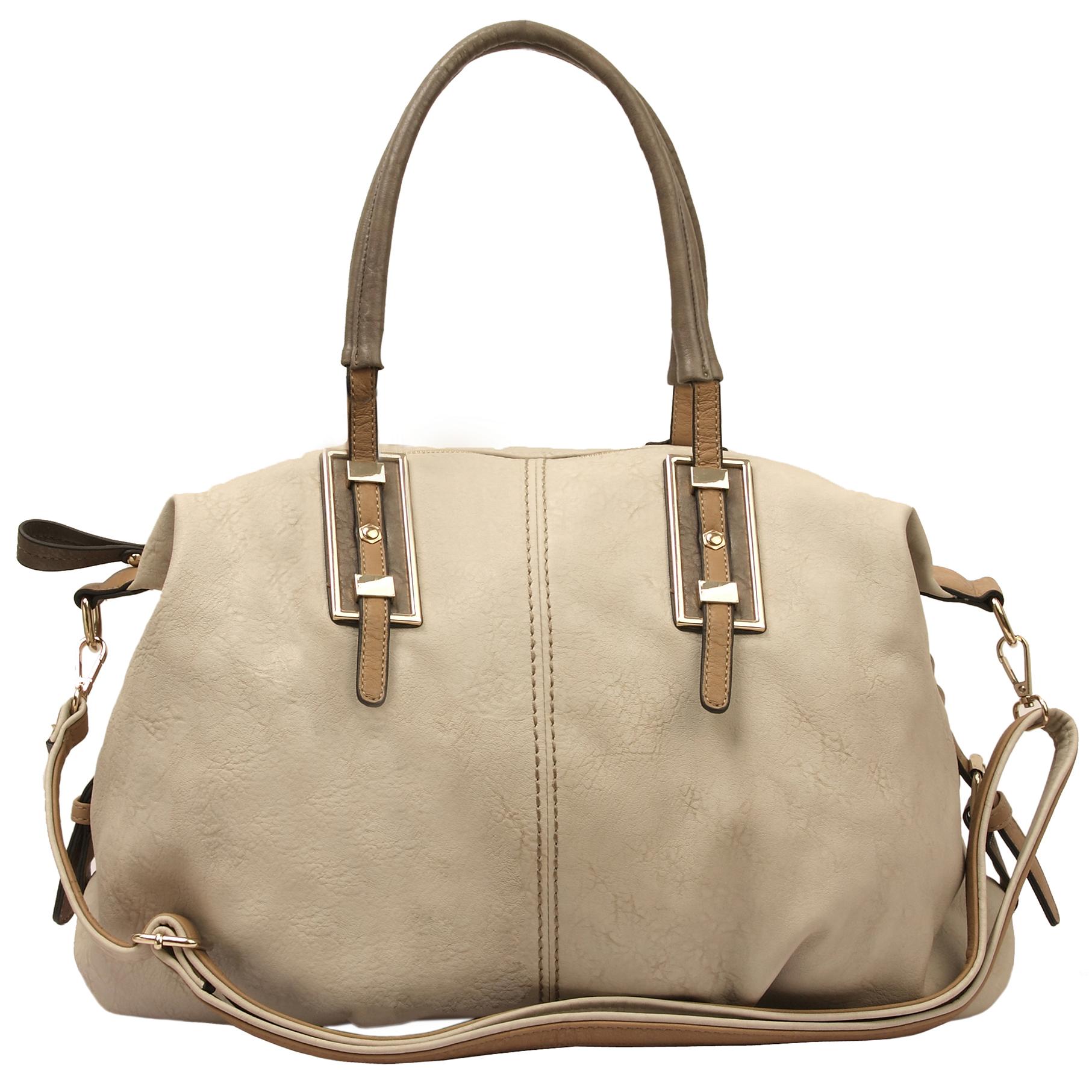 ACACIA Grey Large Everyday Shopper Hobo Handbag Front