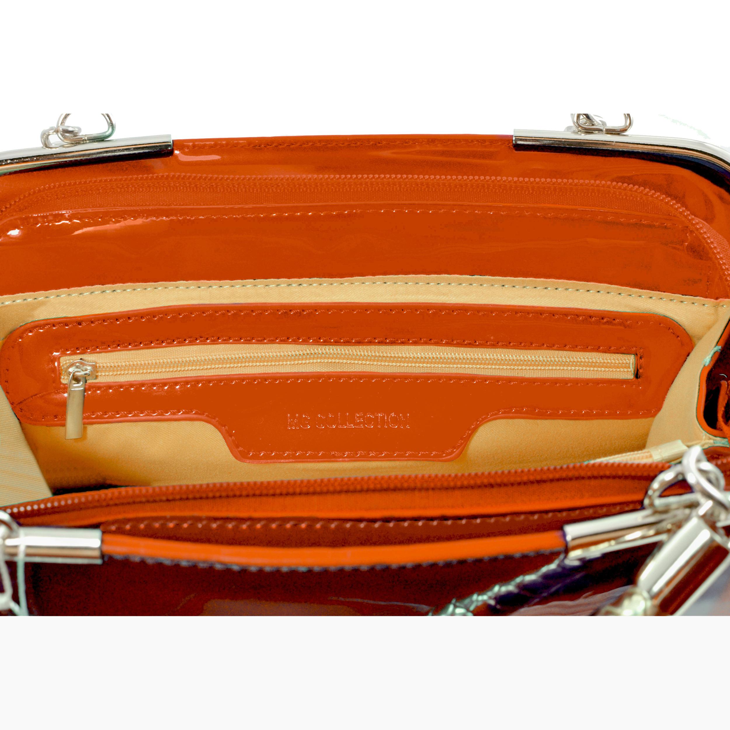 MATANA Orange Gloss Tote Purse interior
