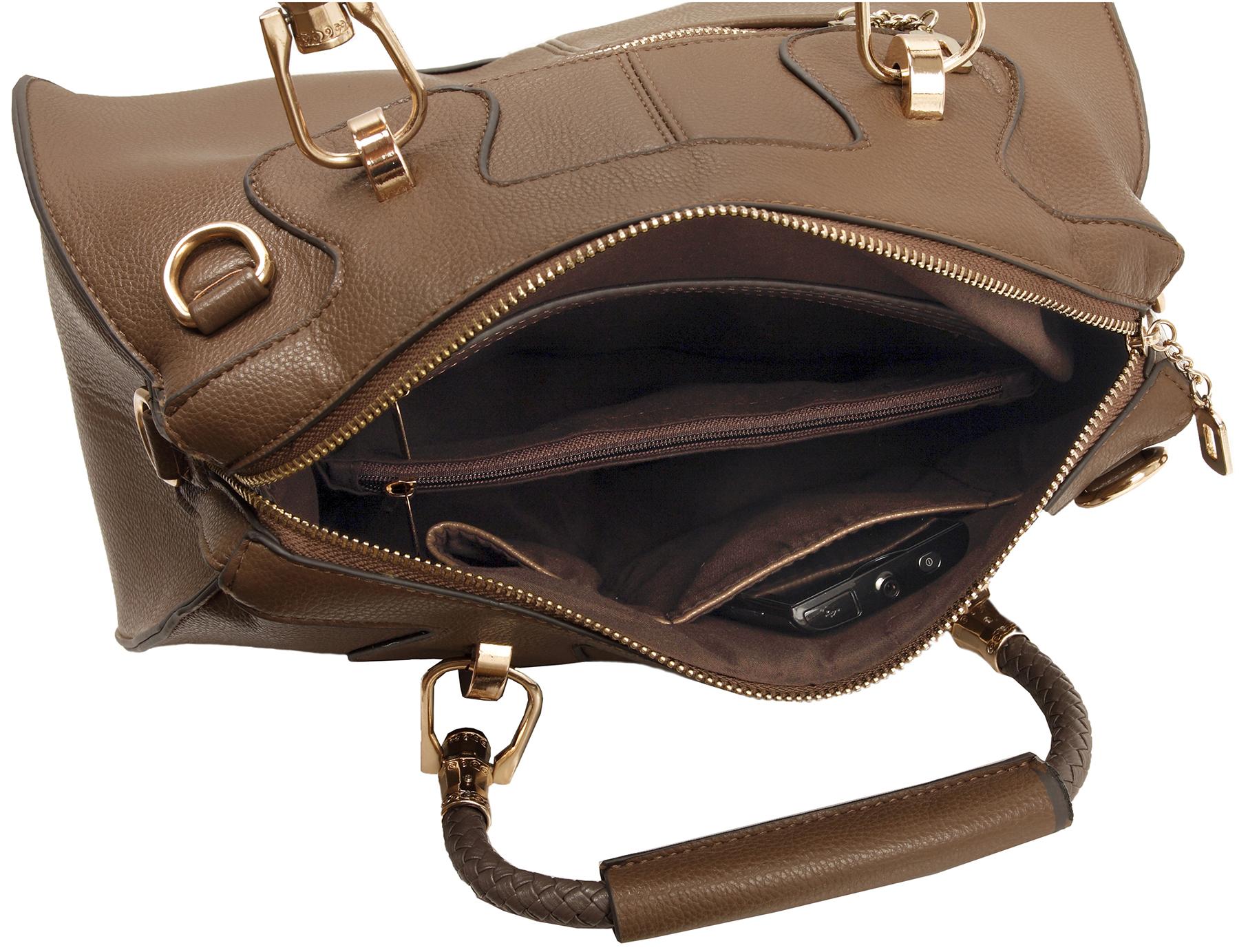 MARISSA Taupe Doctor Style Handbag Interior