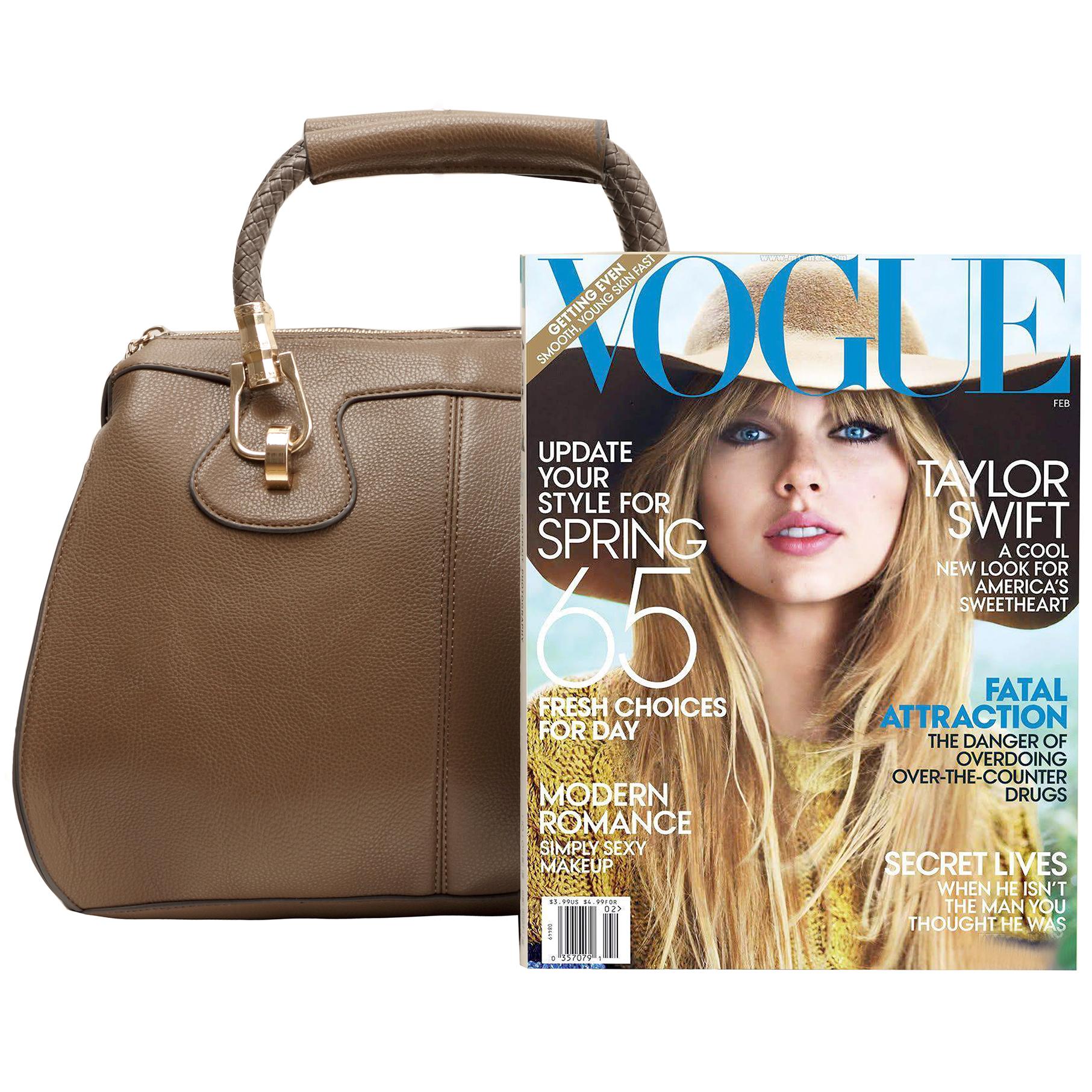 MARISSA Taupe Doctor Style Handbag Size