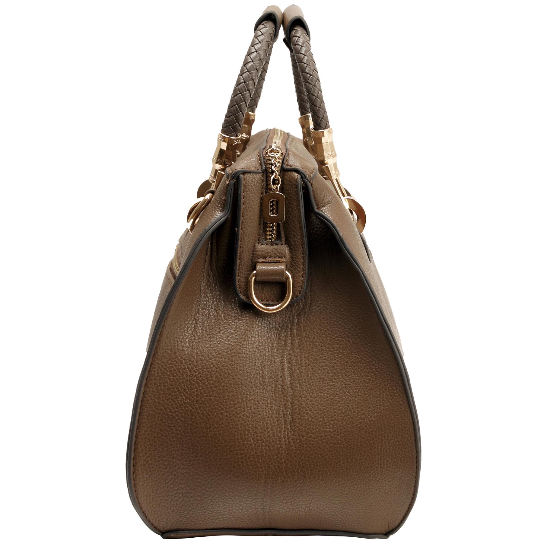 MARISSA Taupe Doctor Style Handbag Side