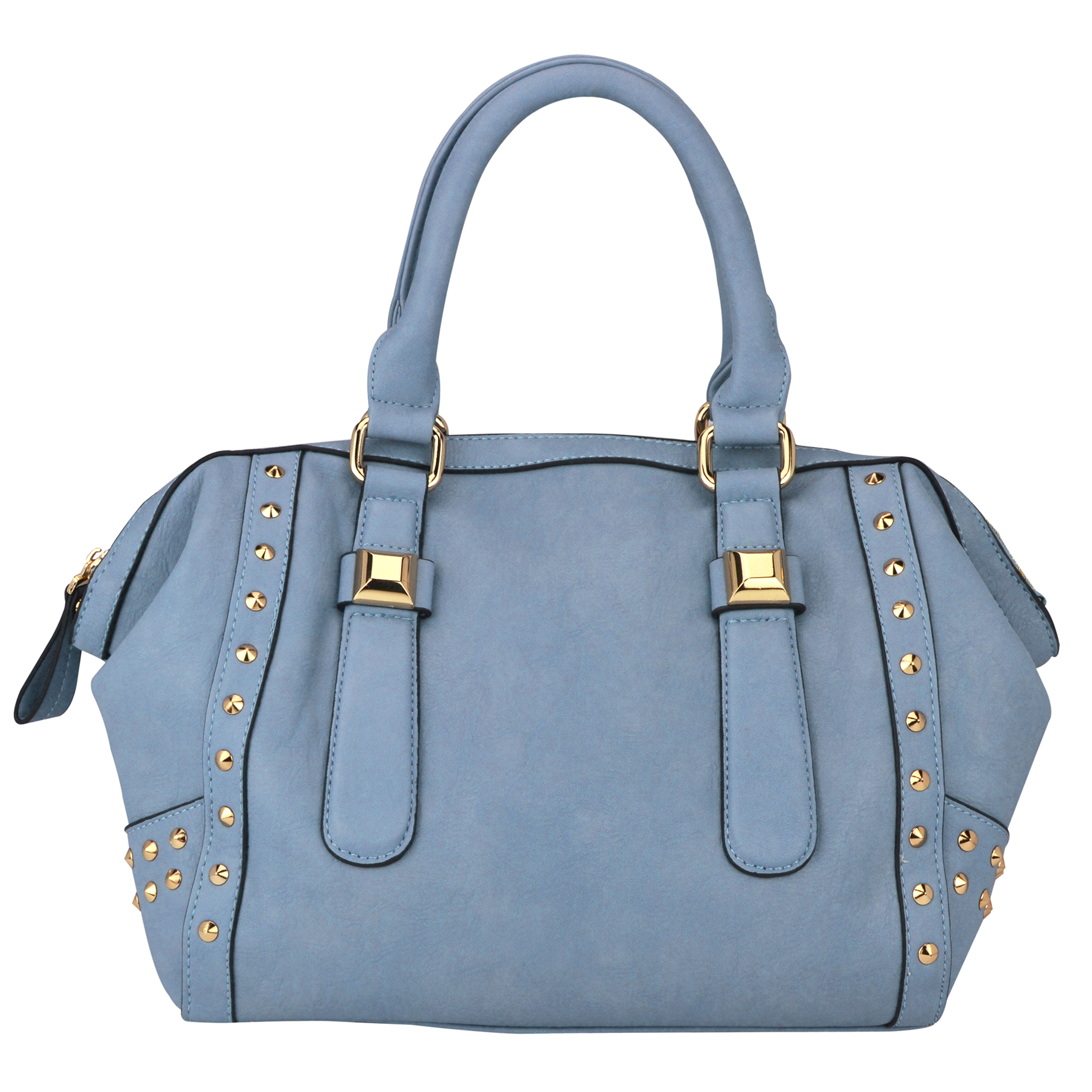 QIEA Blue Gold Studded Tote Purse Front