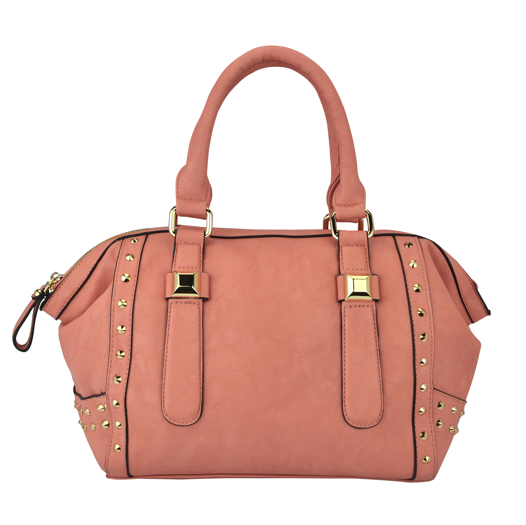 QIEA Peach Gold Studded Tote Purse Front
