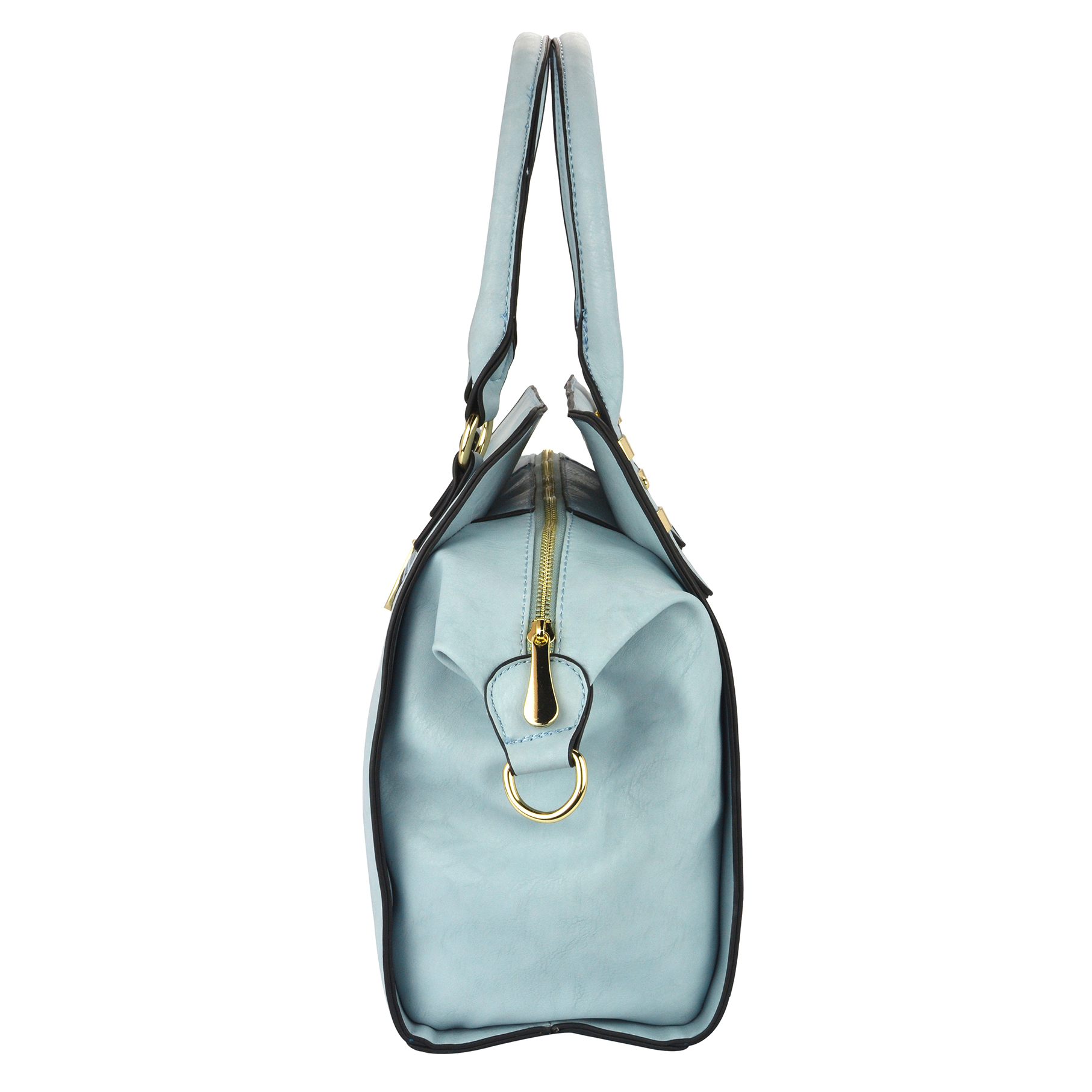 LEA Blue Top Handle Office Tote Purse Side