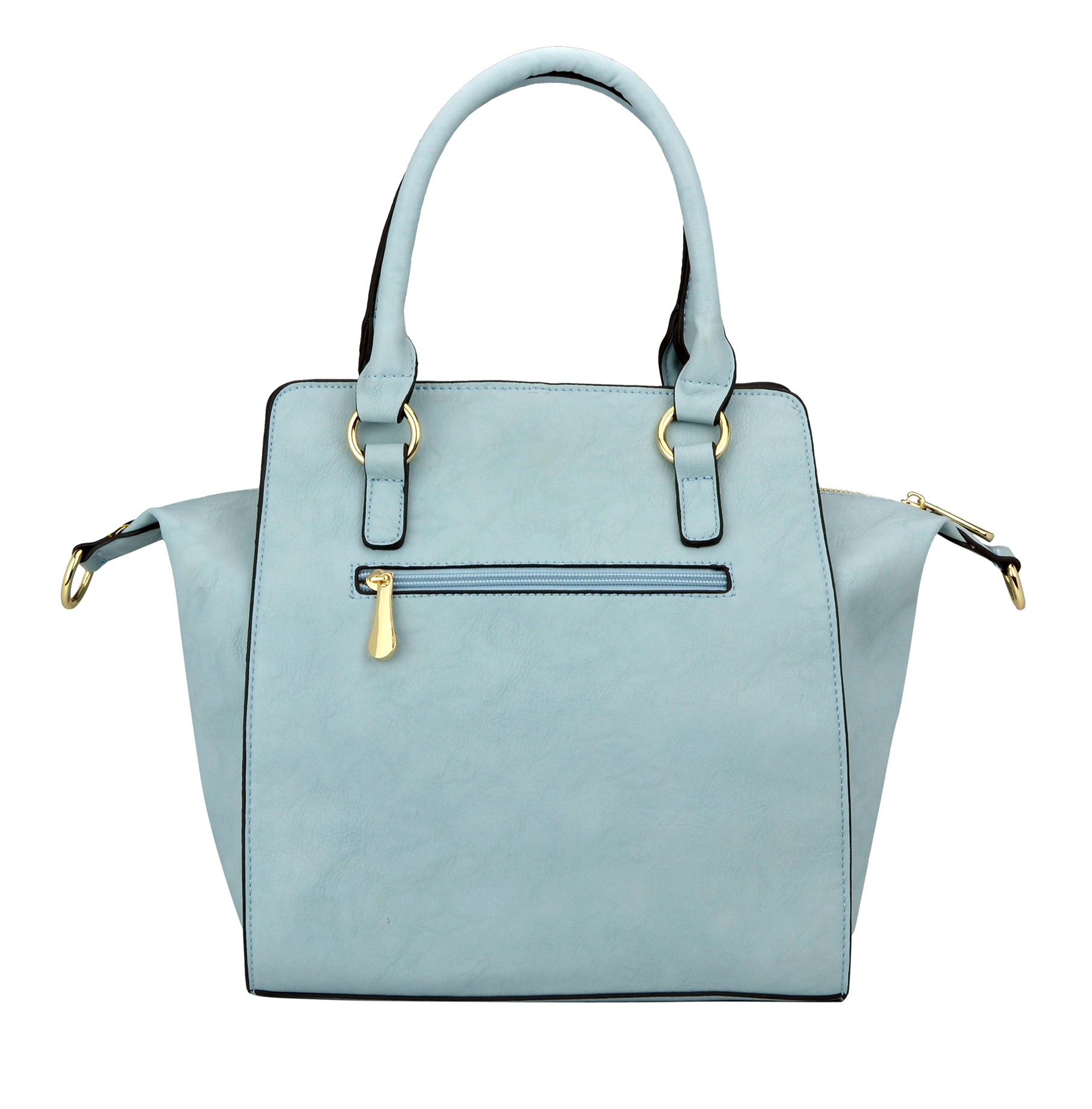 LEA Blue Top Handle Office Tote Purse back