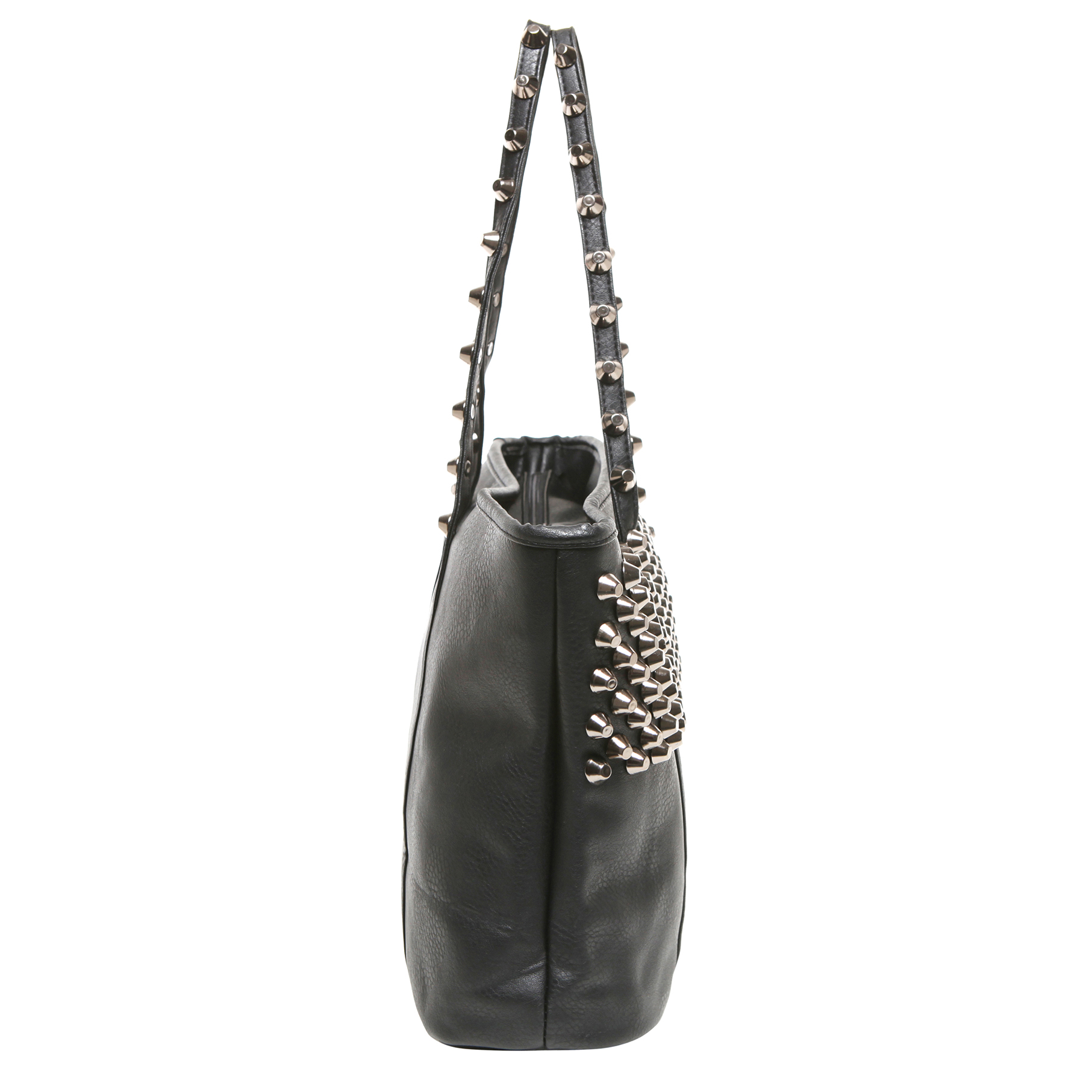 ALDA Black Studded Shopper Tote Purse Side
