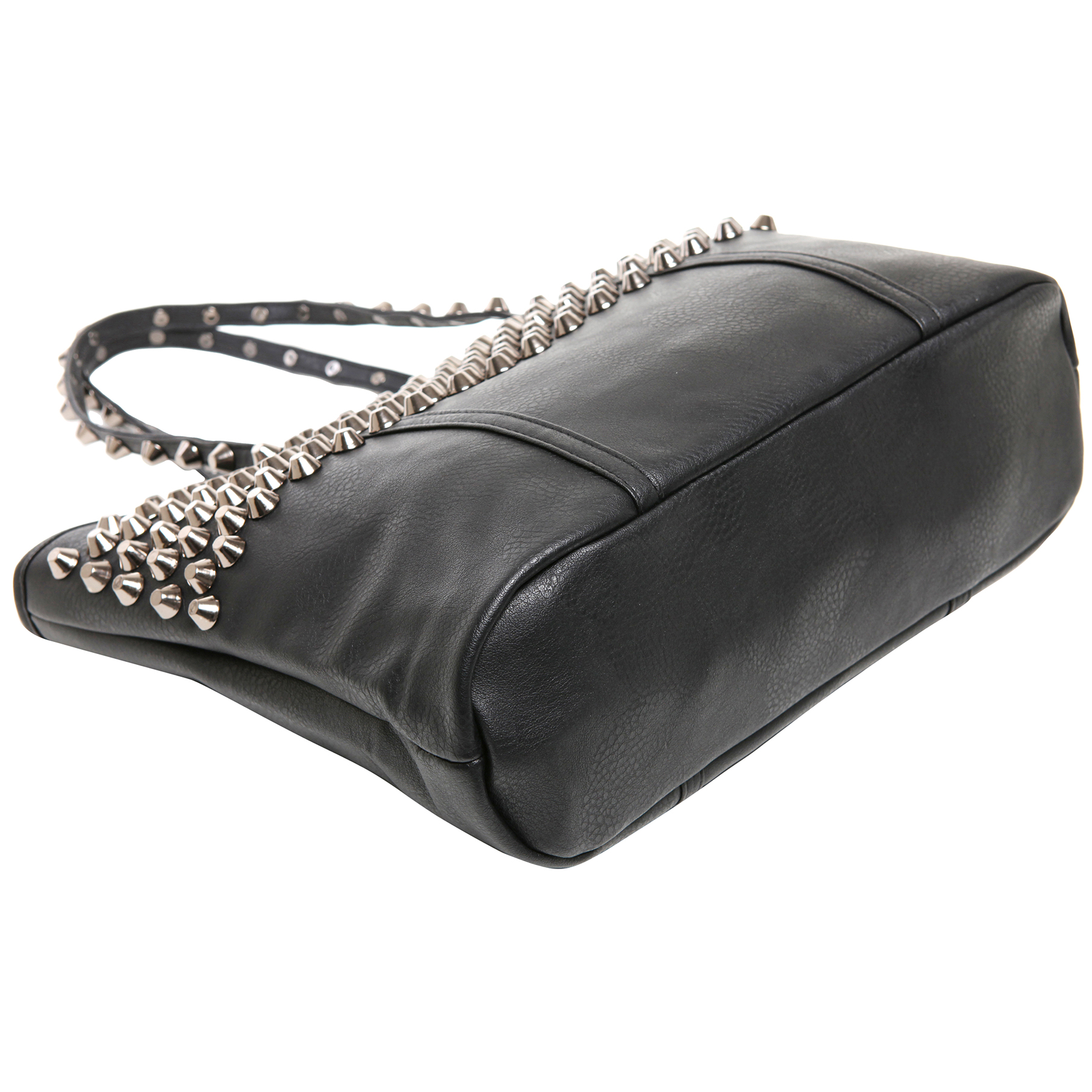ALDA Black Studded Shopper Tote Purse bottom