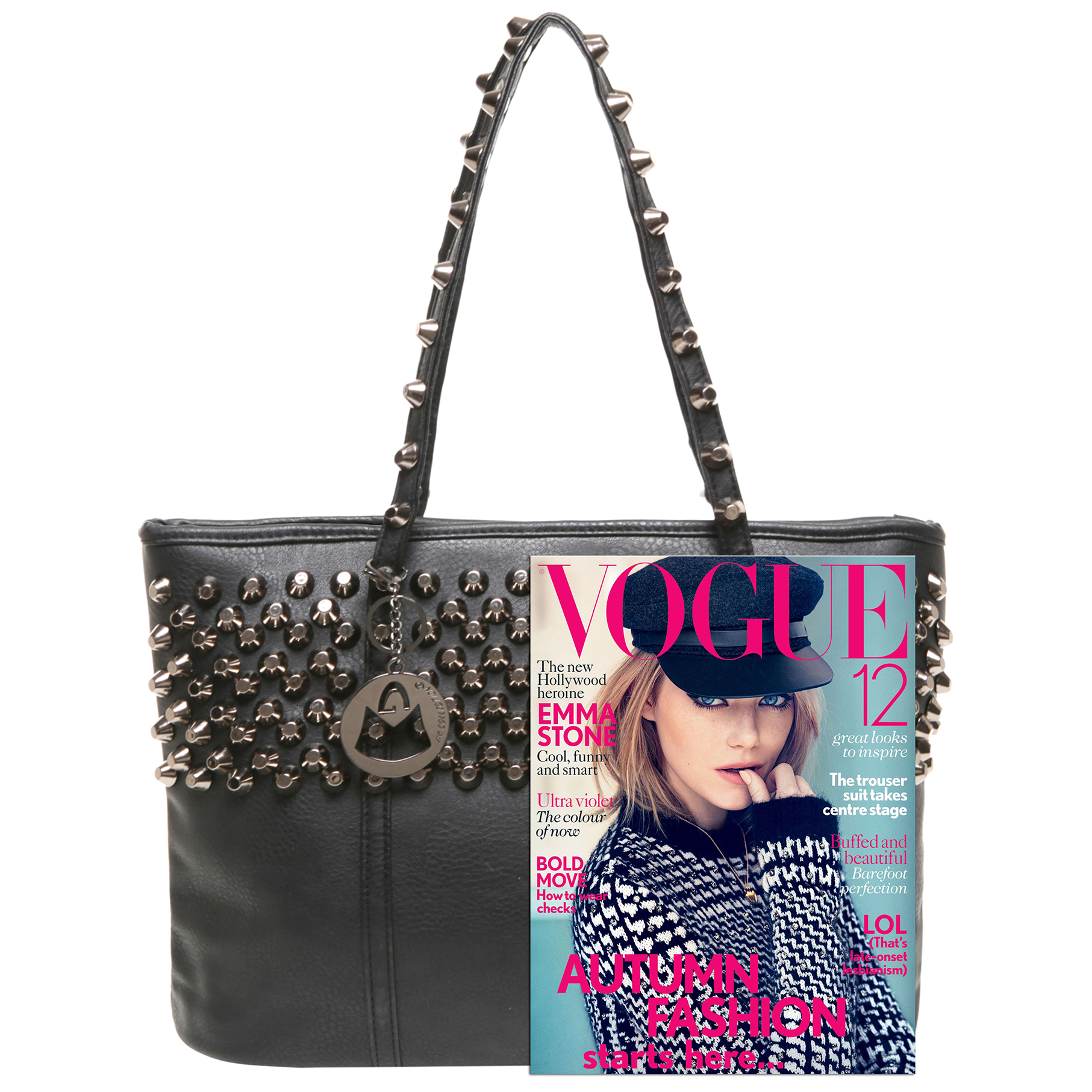 ALDA Black Studded Shopper Tote Purse Size