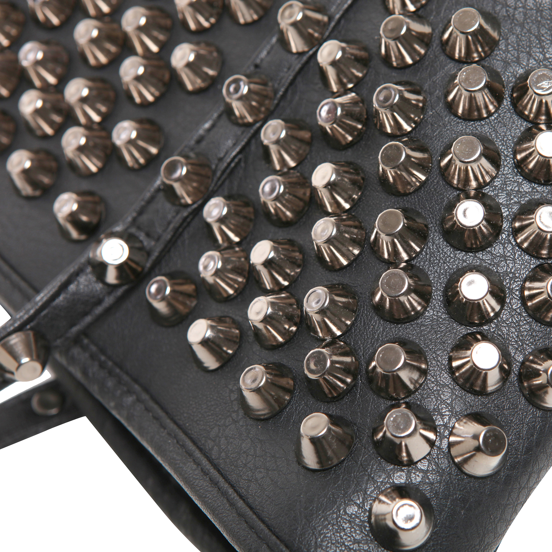 ALDA Black Studded Shopper Tote Purse Closeup