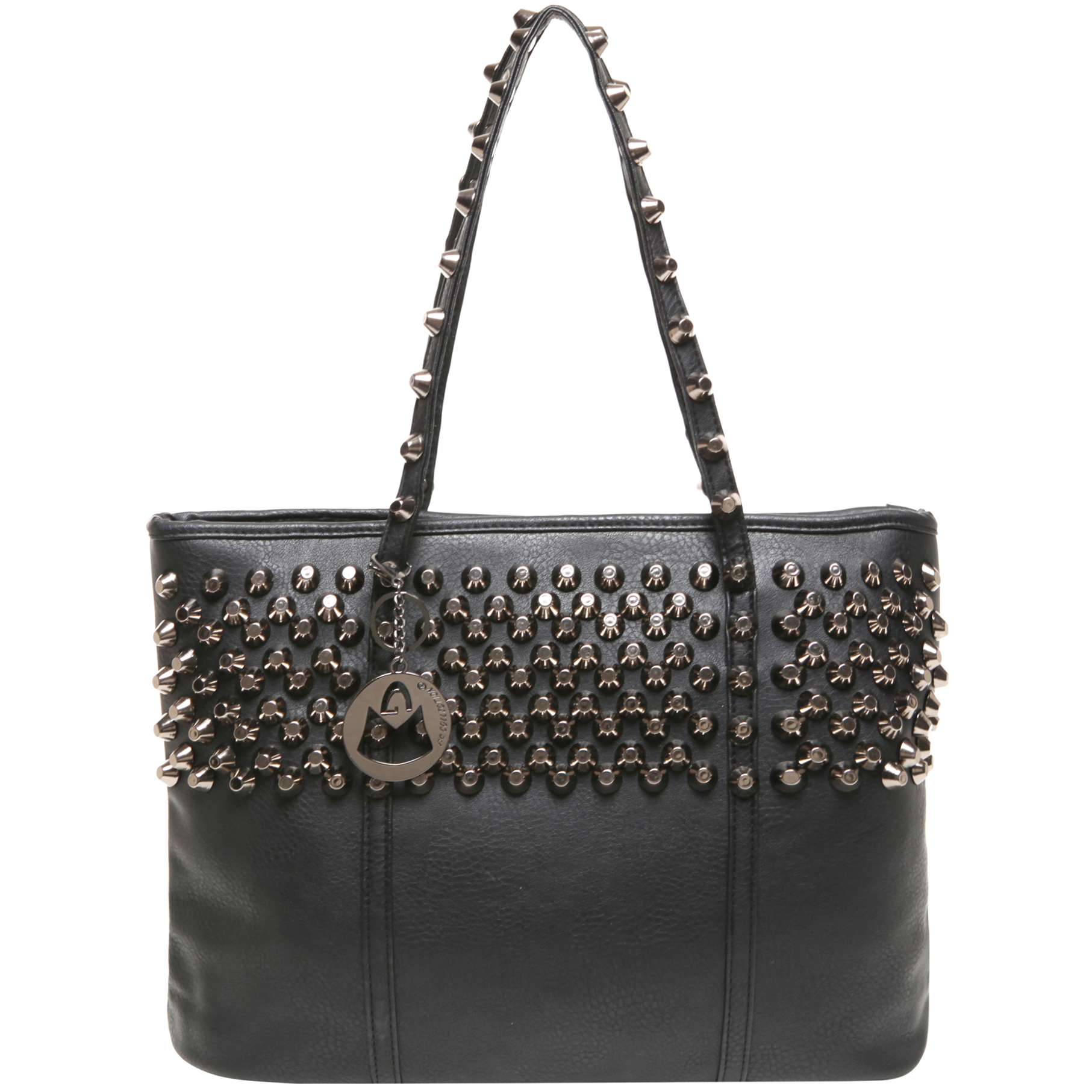 ALDA Black Studded Shopper Tote Purse Front