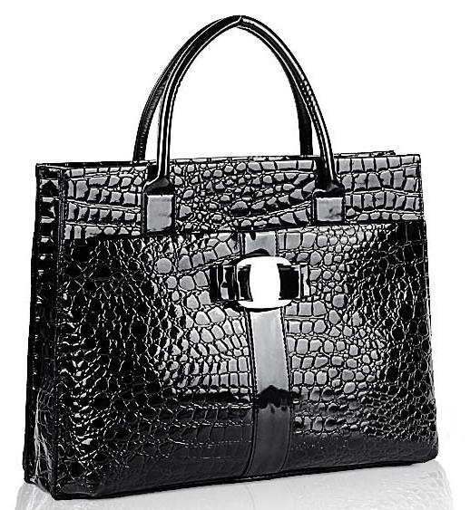 MAXX Black Crocodile Print Top Handle Handbag Main