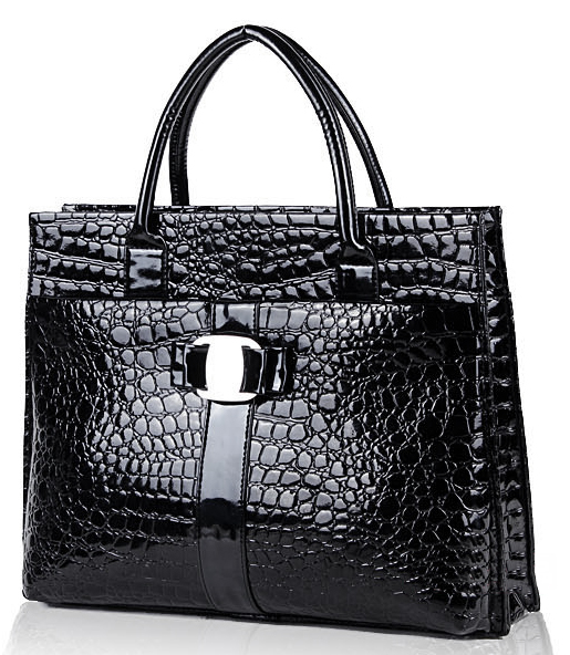 MAXX Black Crocodile Print Top Handle Handbag Front Angled