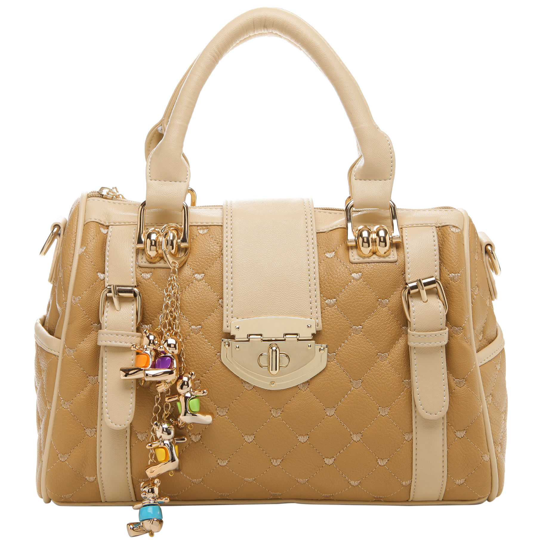 KARASI Dual-tone Beige Quilted Bowler Purse Front