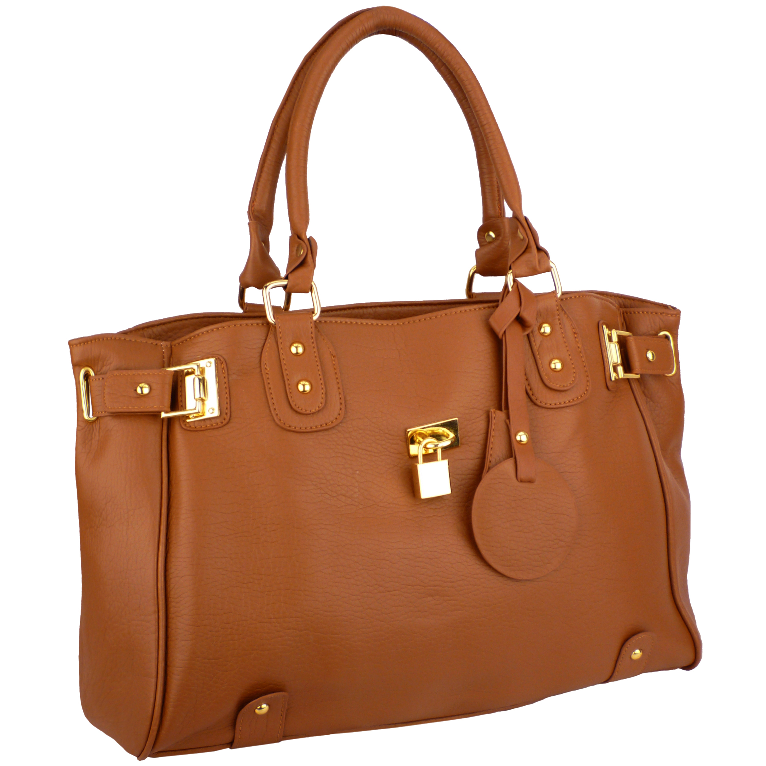 LUCCA Brown Padlock Shopper Purse Main