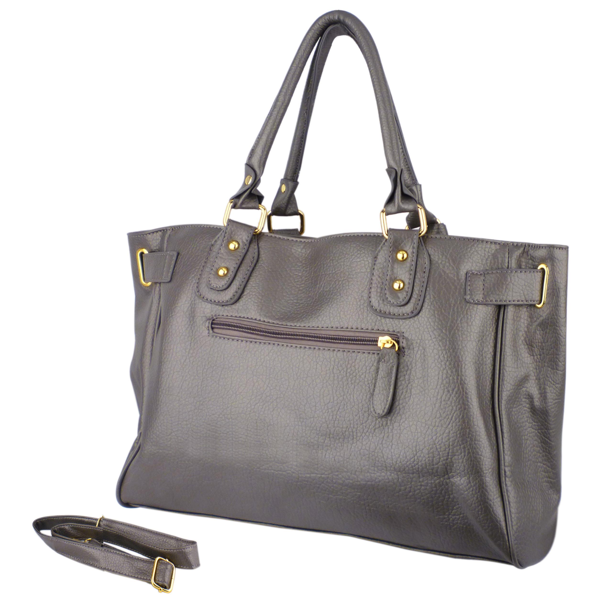 LUCCA Grey Padlock Shopper Purse back